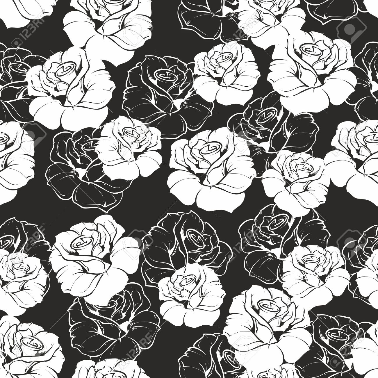 Seamless Vector Dark Floral Pattern With White Retro Roses On Black Background Beautiful Abstract Vintage Texture