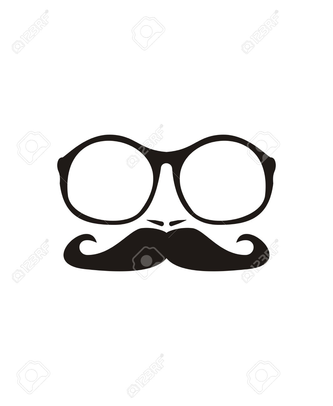 Men vector face with mustache and huge, hipster oldschool glasses  Black professor face silhouette isolated on white background Stock Vector - 24589606