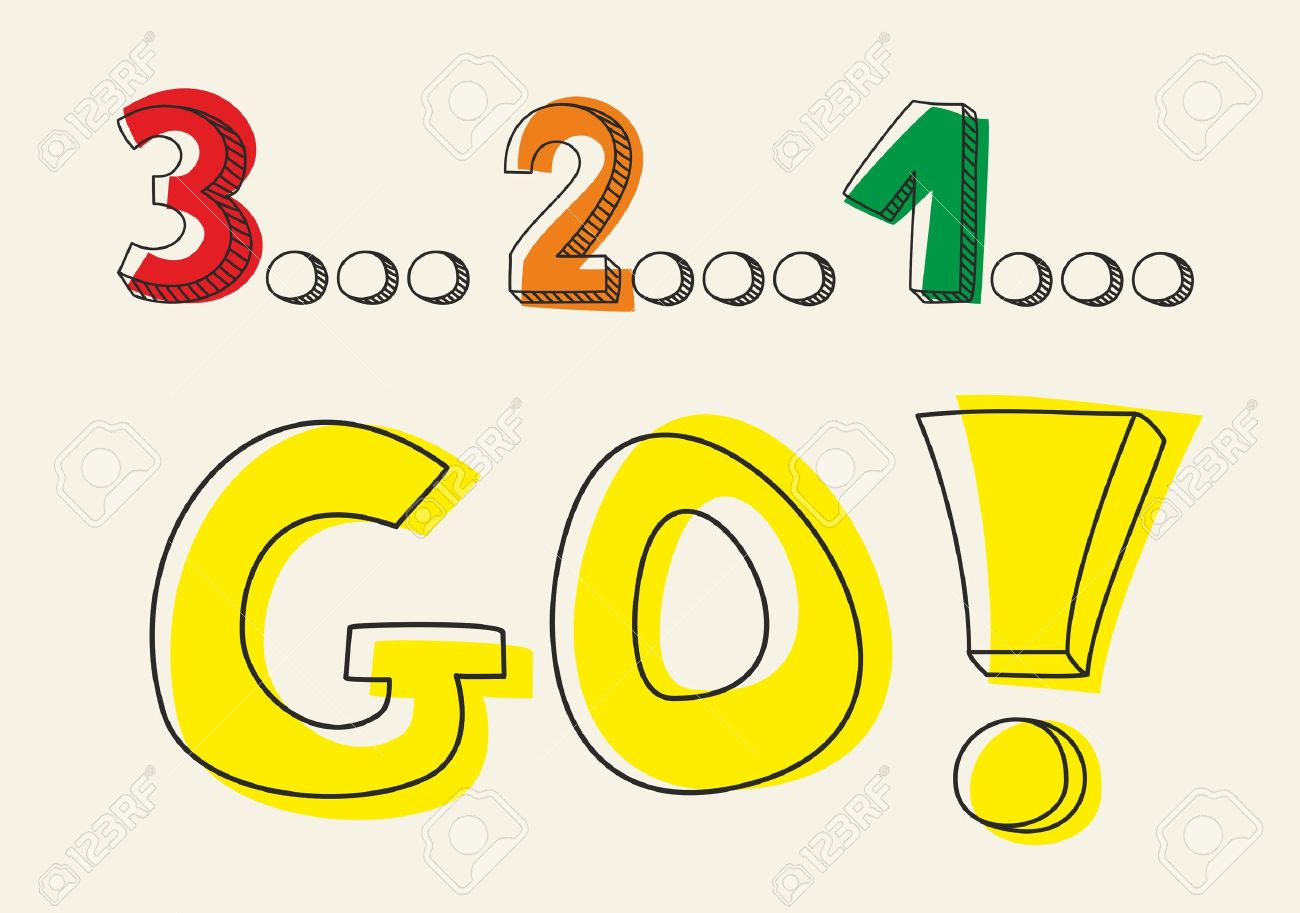 Countdown 3 2 1 Go Hand Drawn Doodle Colorful Vector Illustration ...