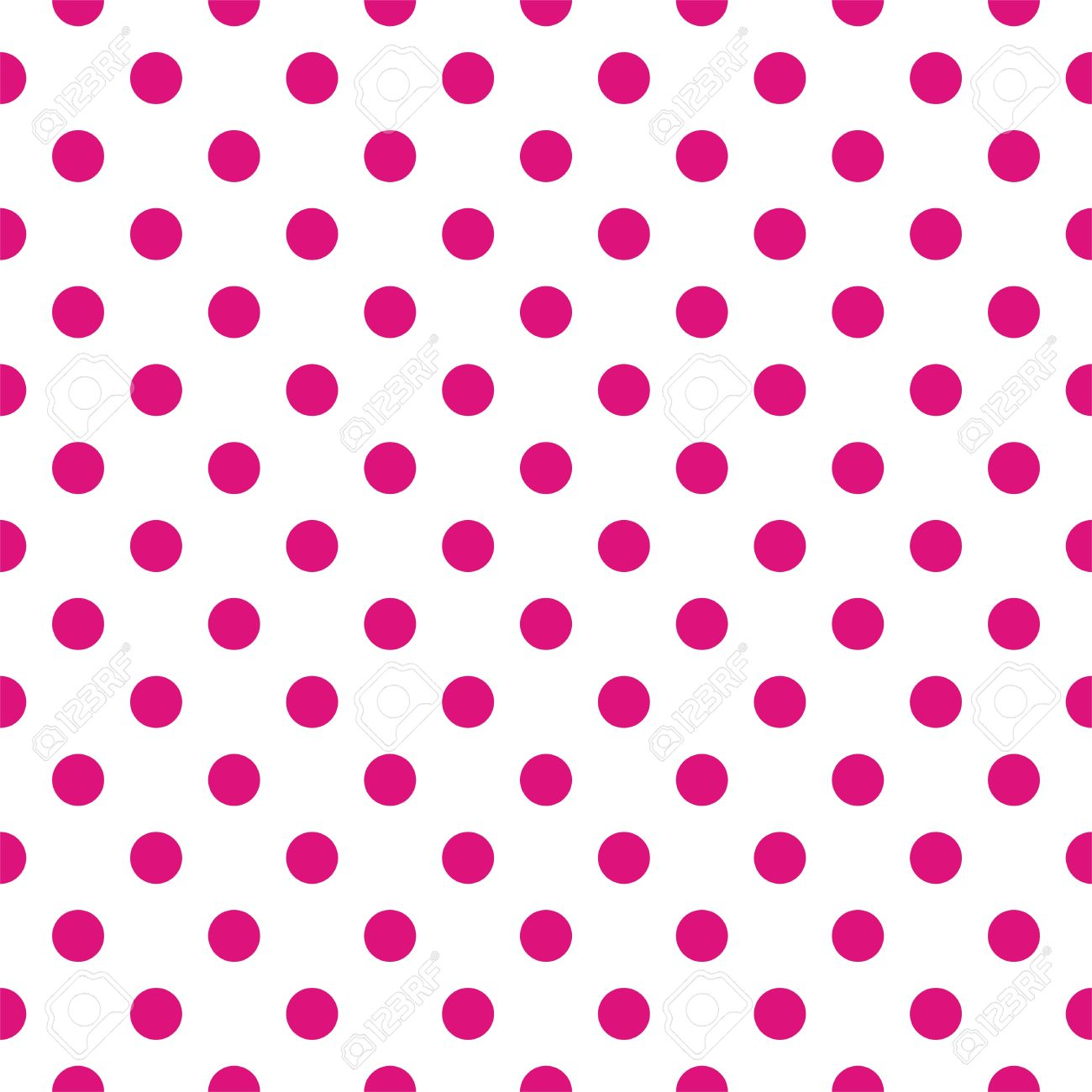 Seamless Vector Pattern With Dark Pink Polka Dots On A White ...