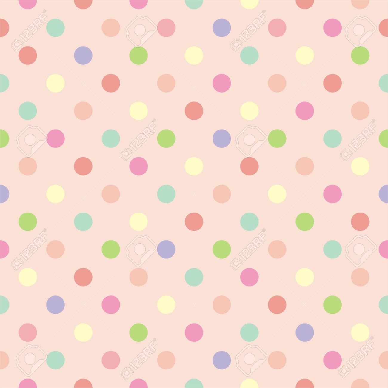 Colorful Vector Background With Red Pink Green Blue And Yellow Polka Dots On