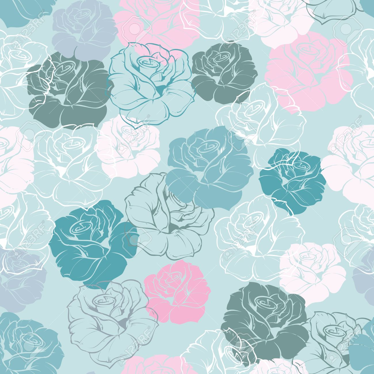 Seamless Floral Vector Pattern With Pink Green White Grey