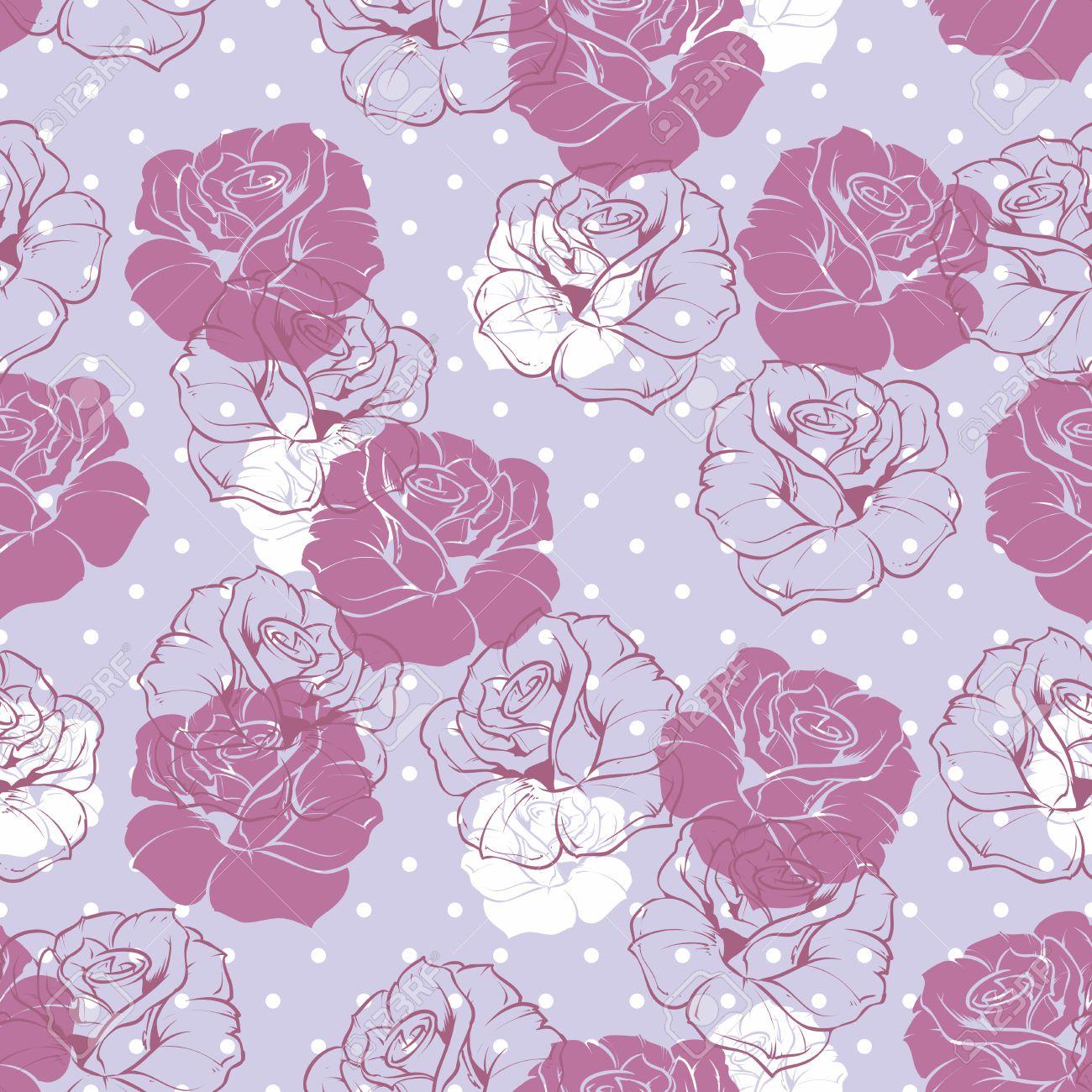 Vettoriale Seamless Vector Pattern Floreale Con Rosa Viola E Rose