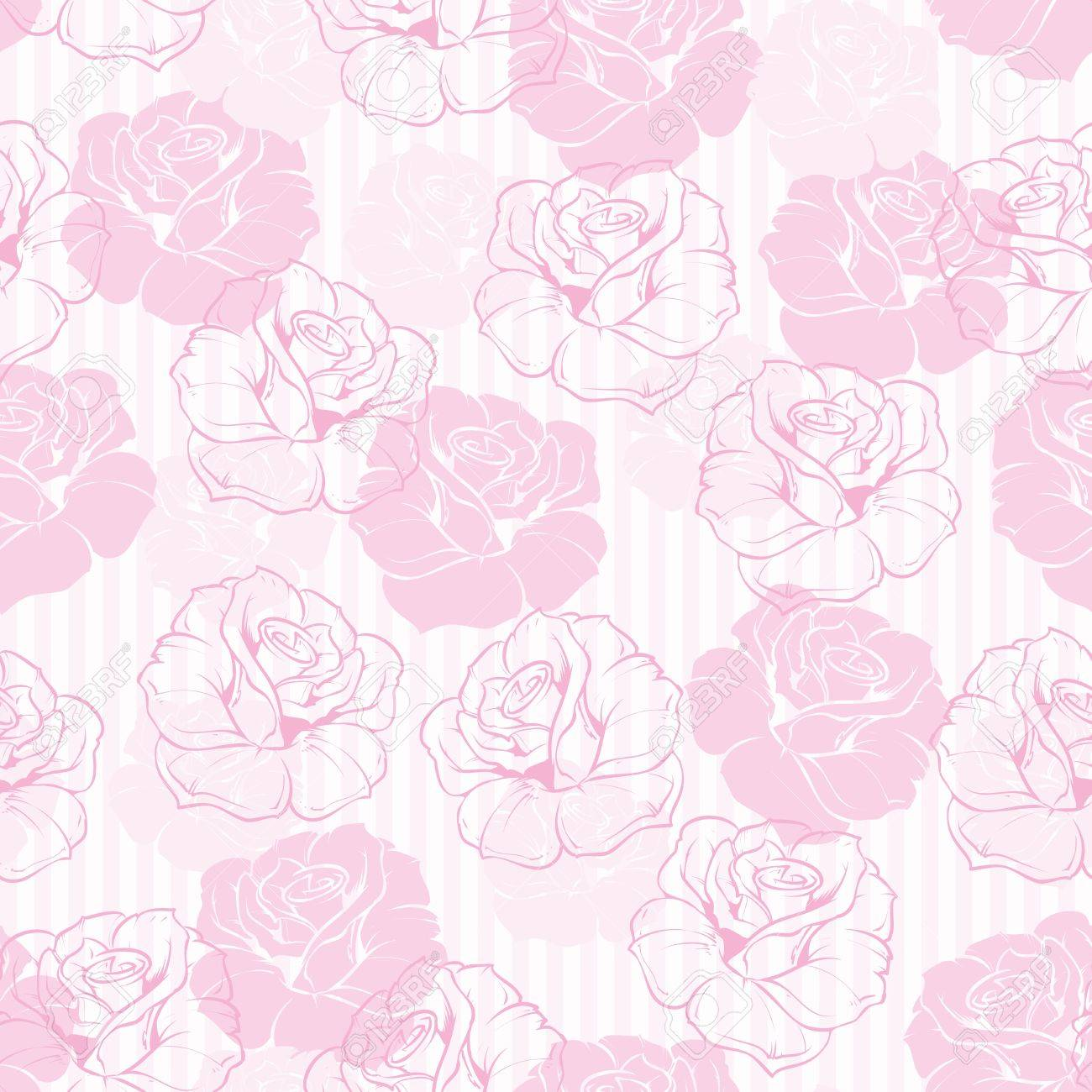 Seamless Retro Vector Floral Pattern With Elegant Pink Roses On Sweet Candy And White Stripes