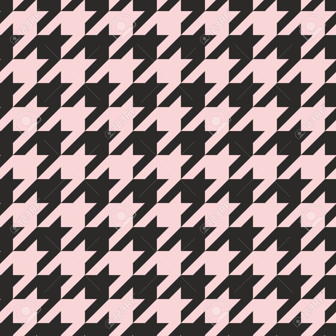 Houndstooth Seamless Vector Pastel Pink And Black Pattern Or