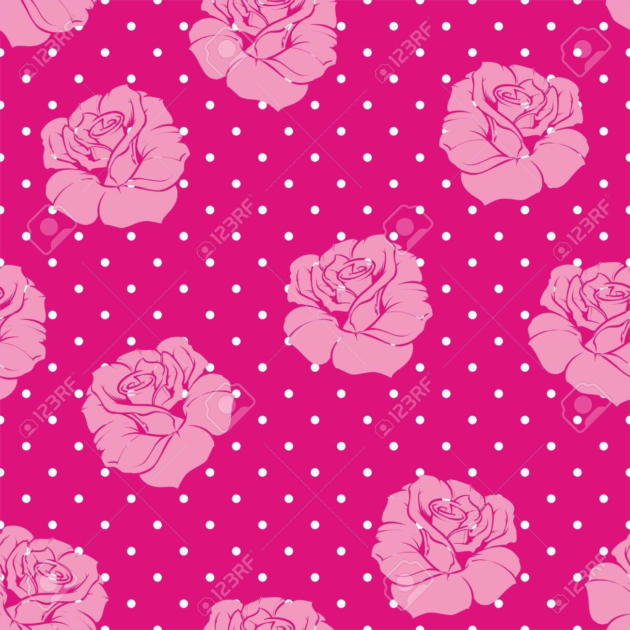 Seamless Vector Patron Floral Con Rosas De Color Rosa Y Blanco En El - Azulejos-rosas