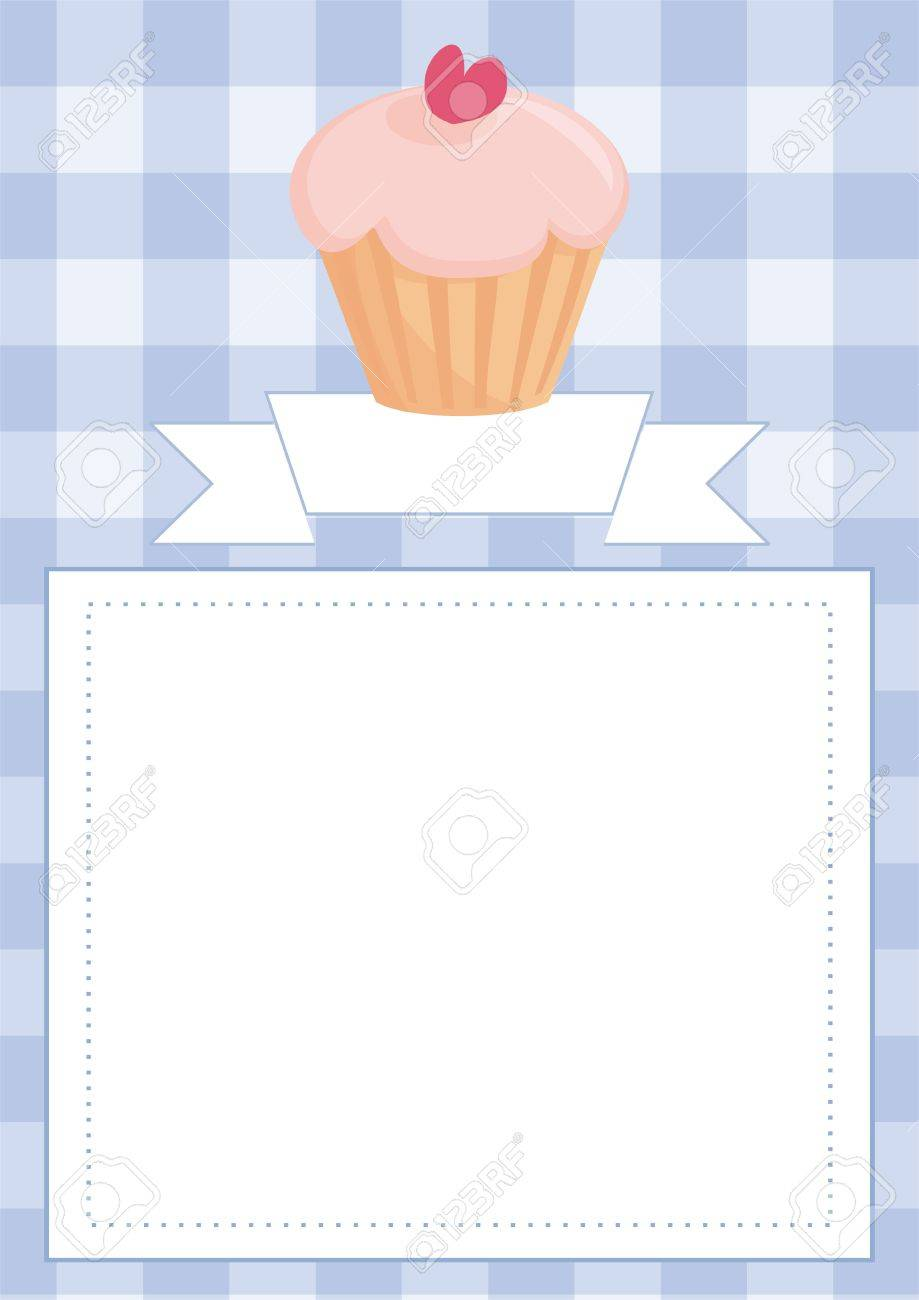 vector vector blue restaurant menu card baby shower list wedding invitation with sweet cupcake on boy blue vintage checkered pattern grid texture