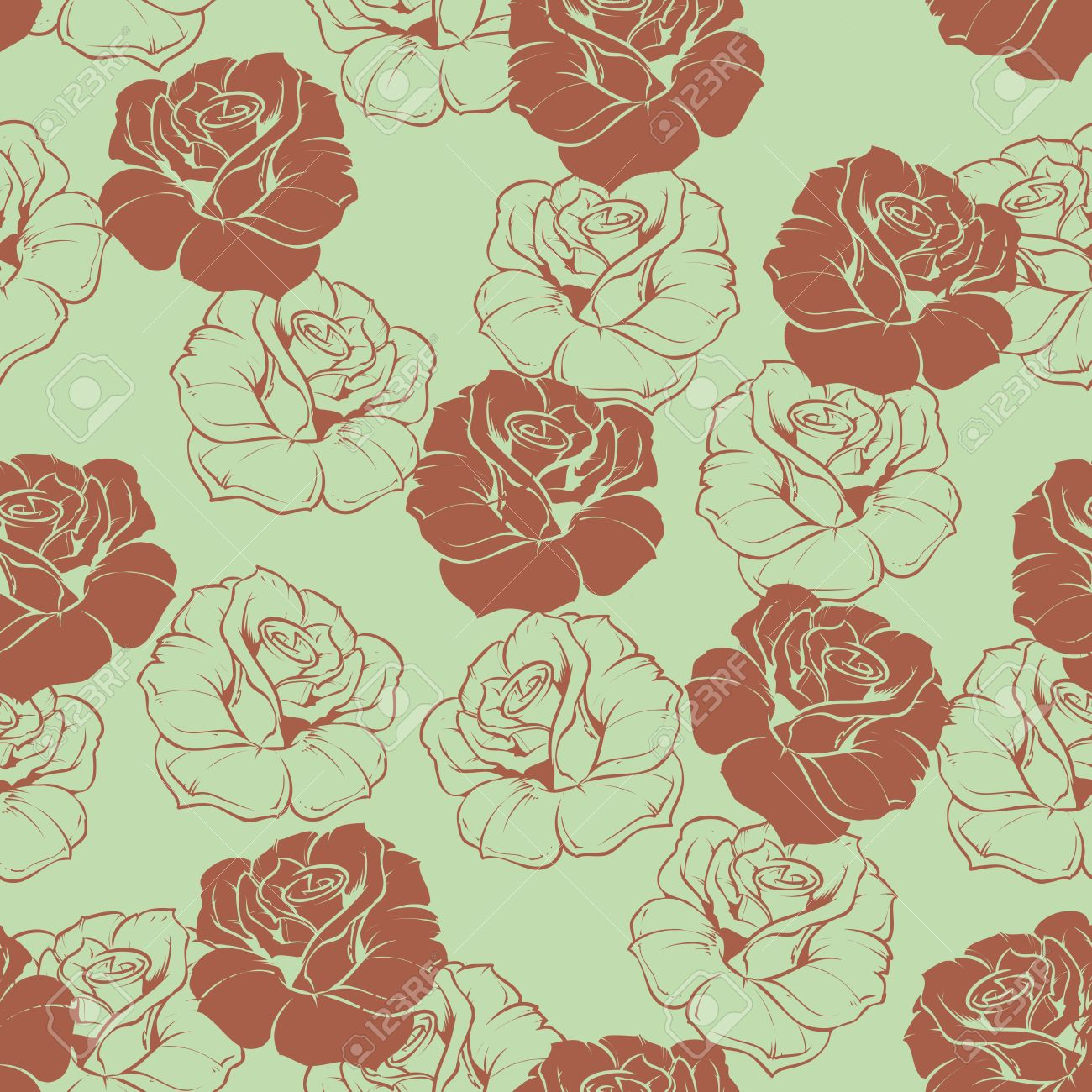 Seamless Vector Brown Retro Floral Pattern With Chocolate Roses