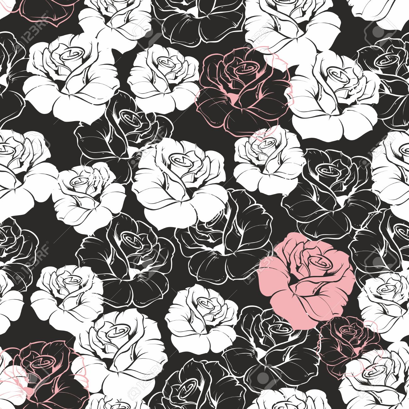 Seamless Vector Dark Floral Pattern With Classic White And Pink