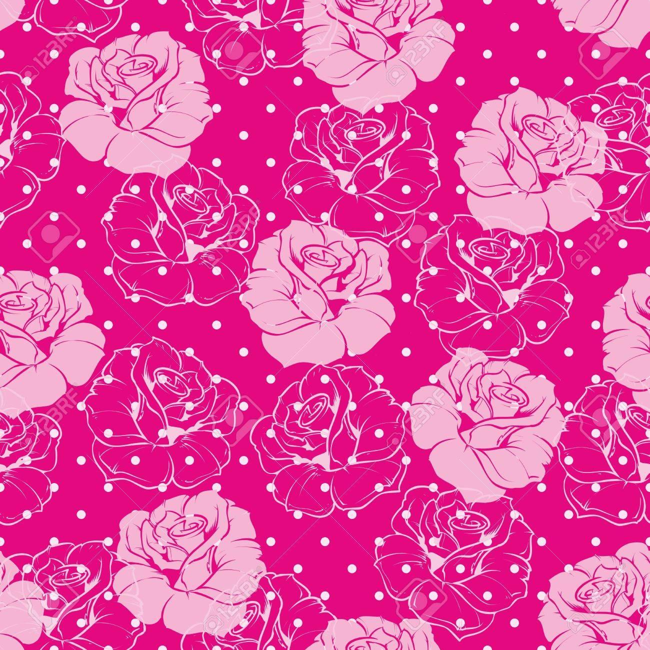 Patron Floral Transparente Con Azulejos De Color Rosa Y Rosas - Azulejos-rosas
