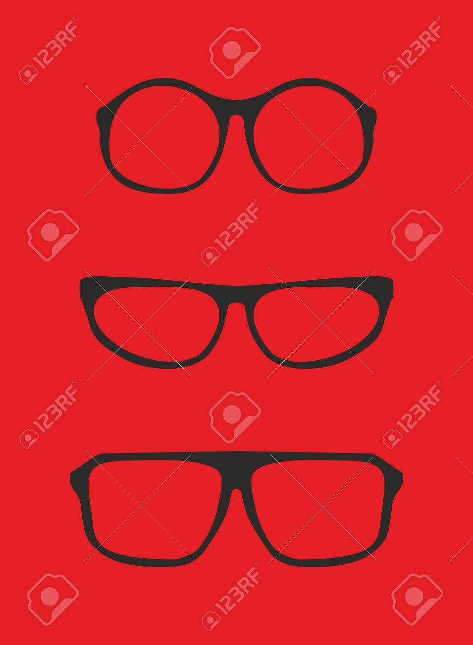 Rote Nerd Brille Für Professor Oder Sekretärin Mit Dicken Halter ...