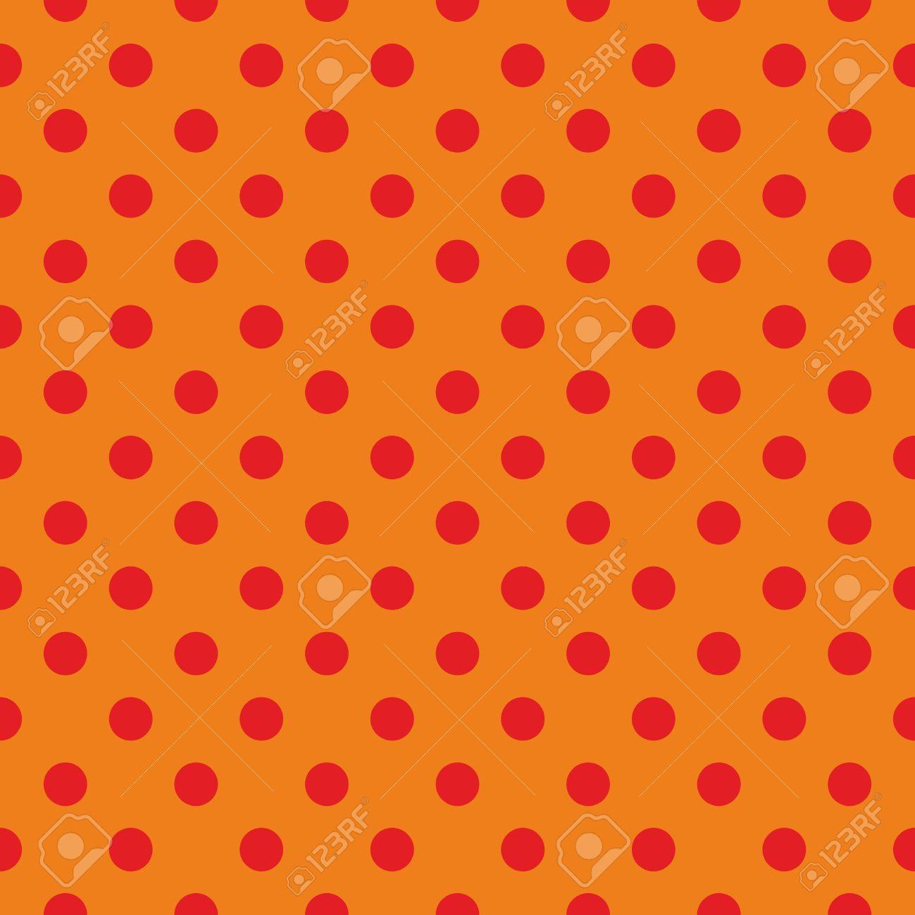 タイル パターン ベクトル テクスチャまたはオレンジ色の背景 レトロなデザインの子供のウェブサイト ブログやデスクトップの壁紙にシームレスな赤い水玉の背景のイラスト素材 ベクタ Image