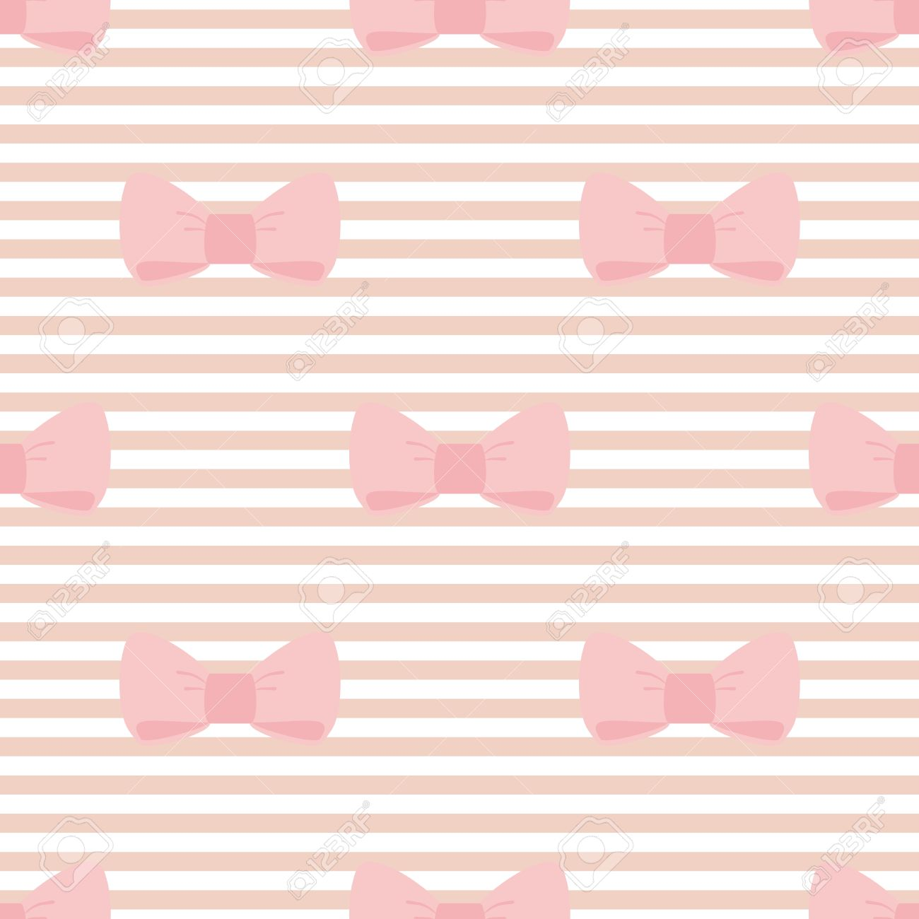 Seamless Vector Pattern With Pastel Pink Bows On A Light Brown