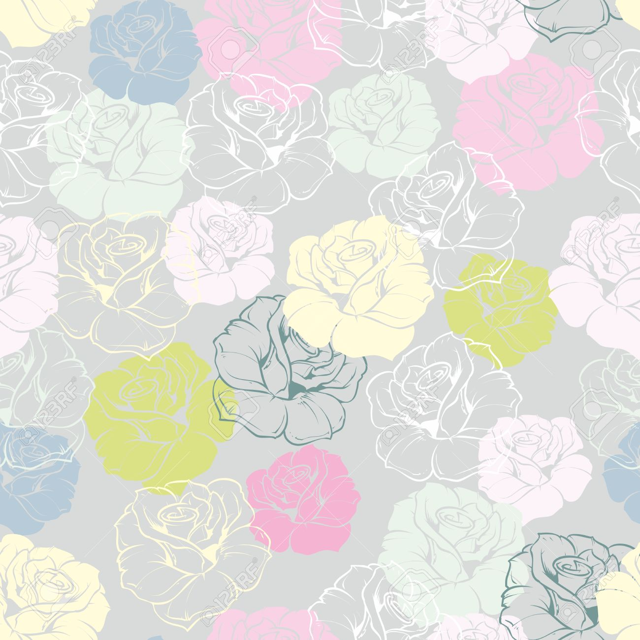 Seamless Vector Floral Pattern With Pastel Pink Yellow Mint