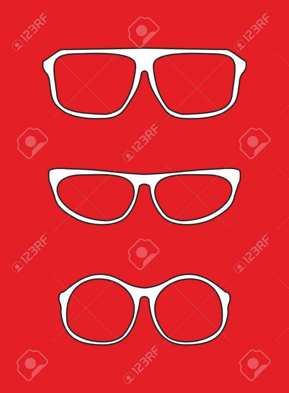 Weiß Nerd-Brille Für Vektor-Professor Oder Sekretärin Mit Dicken ...