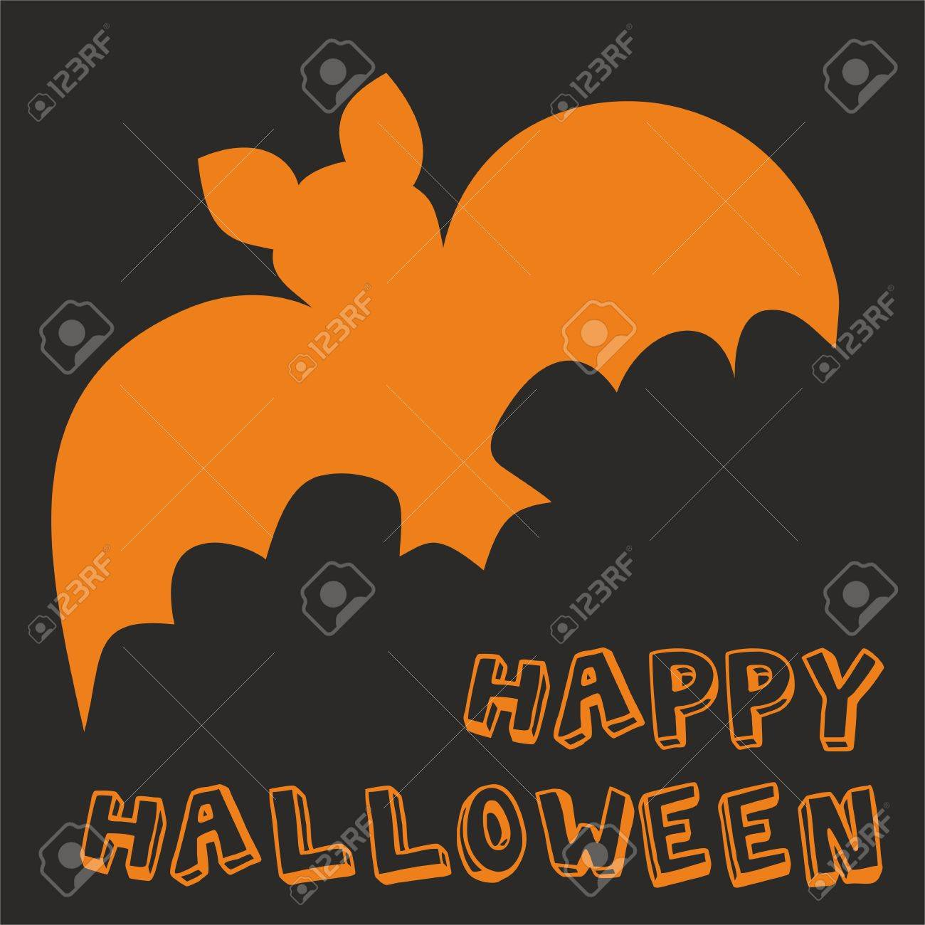 happy halloween vector party card with bat and hand drawn wishes
