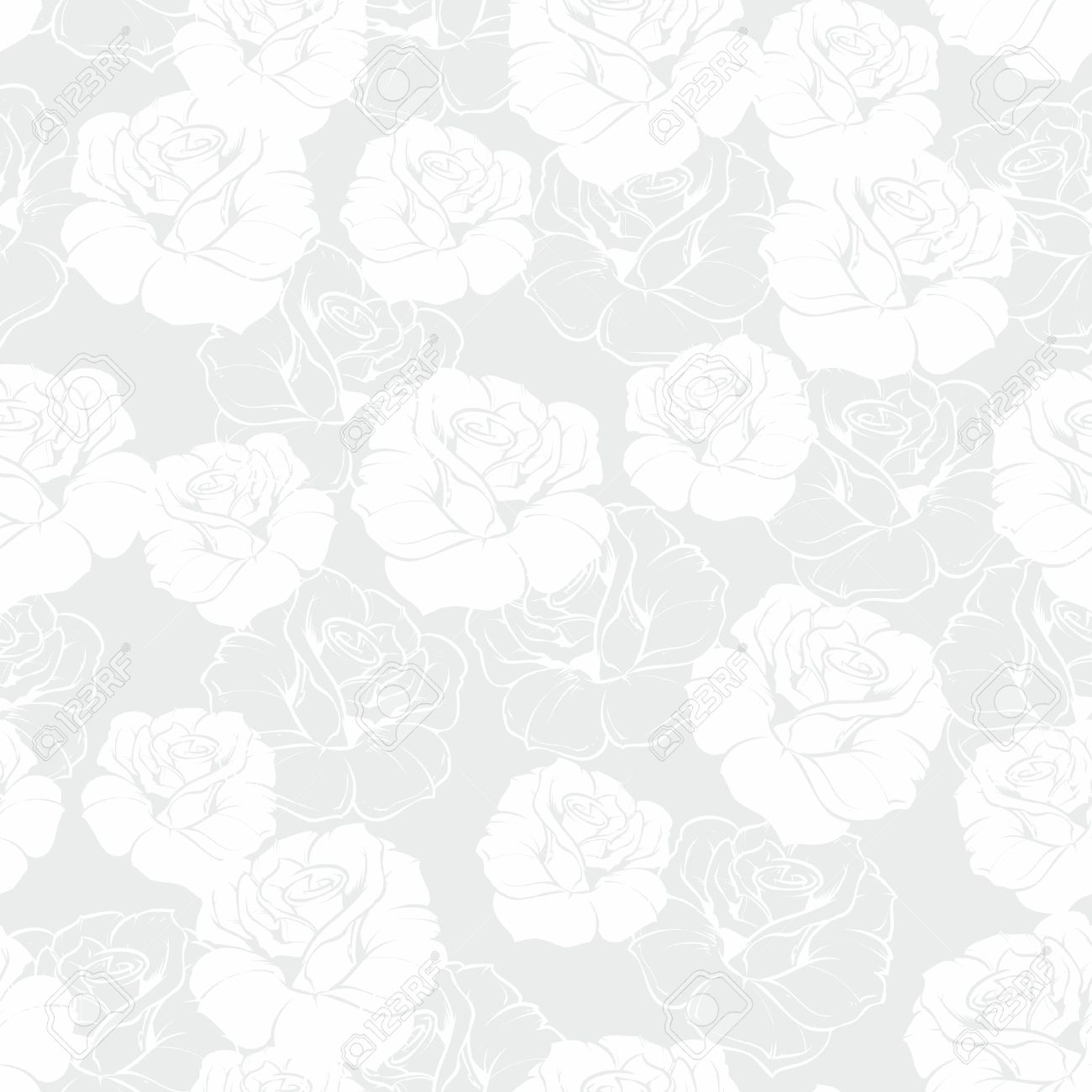 Seamless Grey And White Floral Vector Pattern With Classic Roses On Background Beautiful Abstract