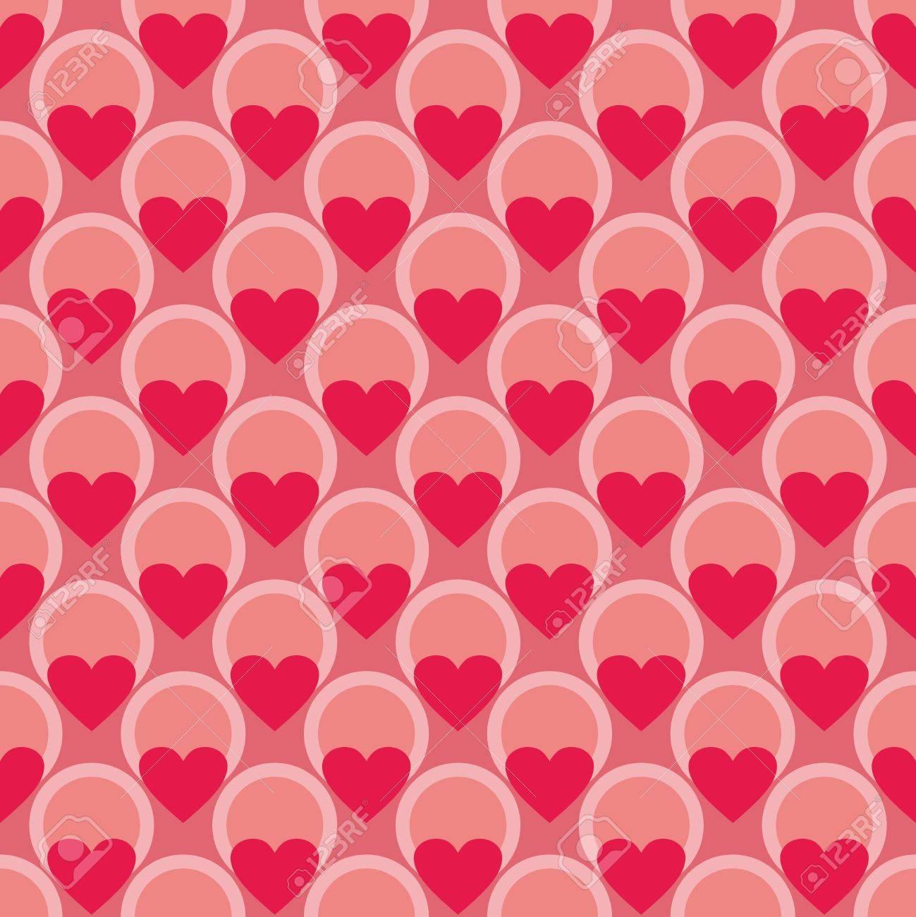 心と水玉ピンク色のタイルのベクトルの背景 かわいいシームレスの