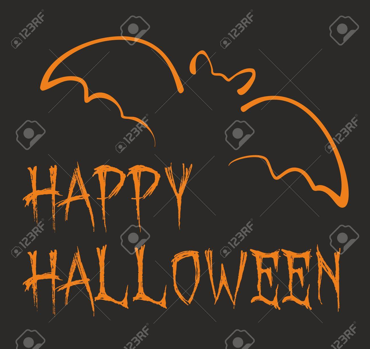 Happy Halloween Dark Party Card With Orange Bat And Hand Drawn Wishes On  Black Background Stock