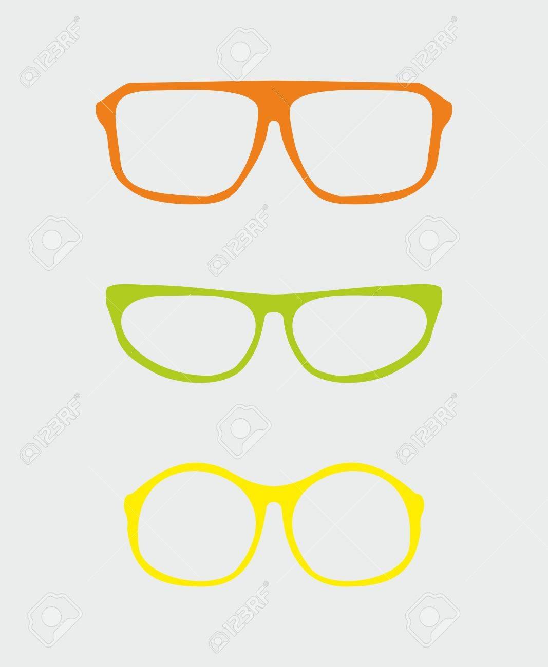 Bunte Vektor Gläser Mit Orange Rot, Grün, Gelb Halter Retro Hipster ...
