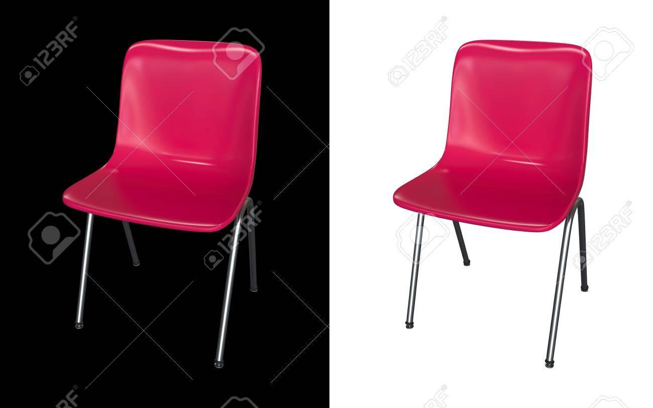 Chaise moderne rose isolé sur un fond noir et blanc. intérieur de ...