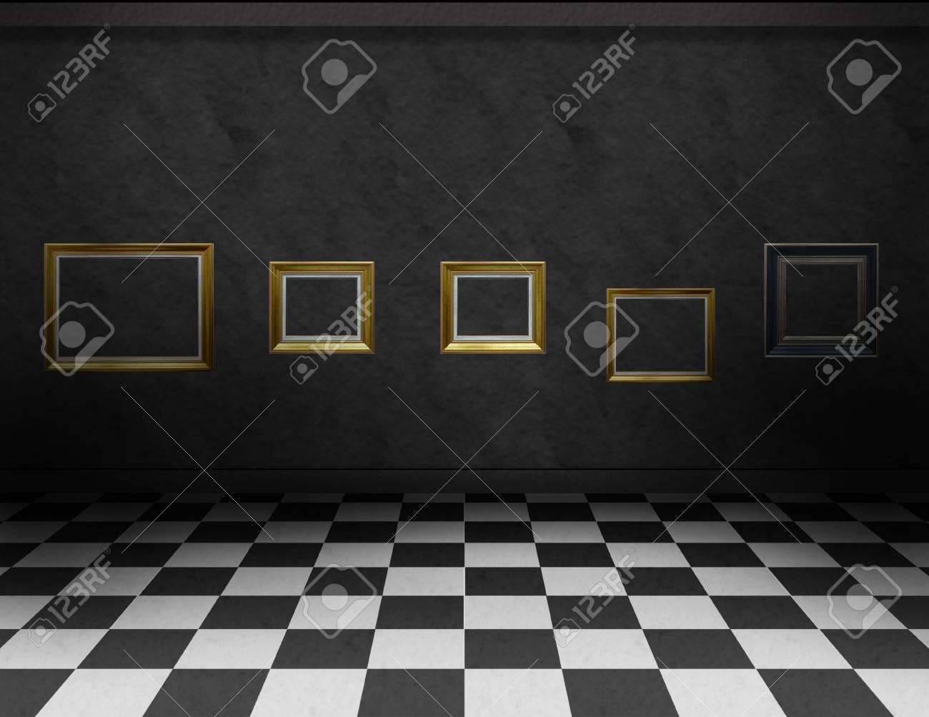 vide, galerie pièce sombre avec correcteur noir et blanc sur le