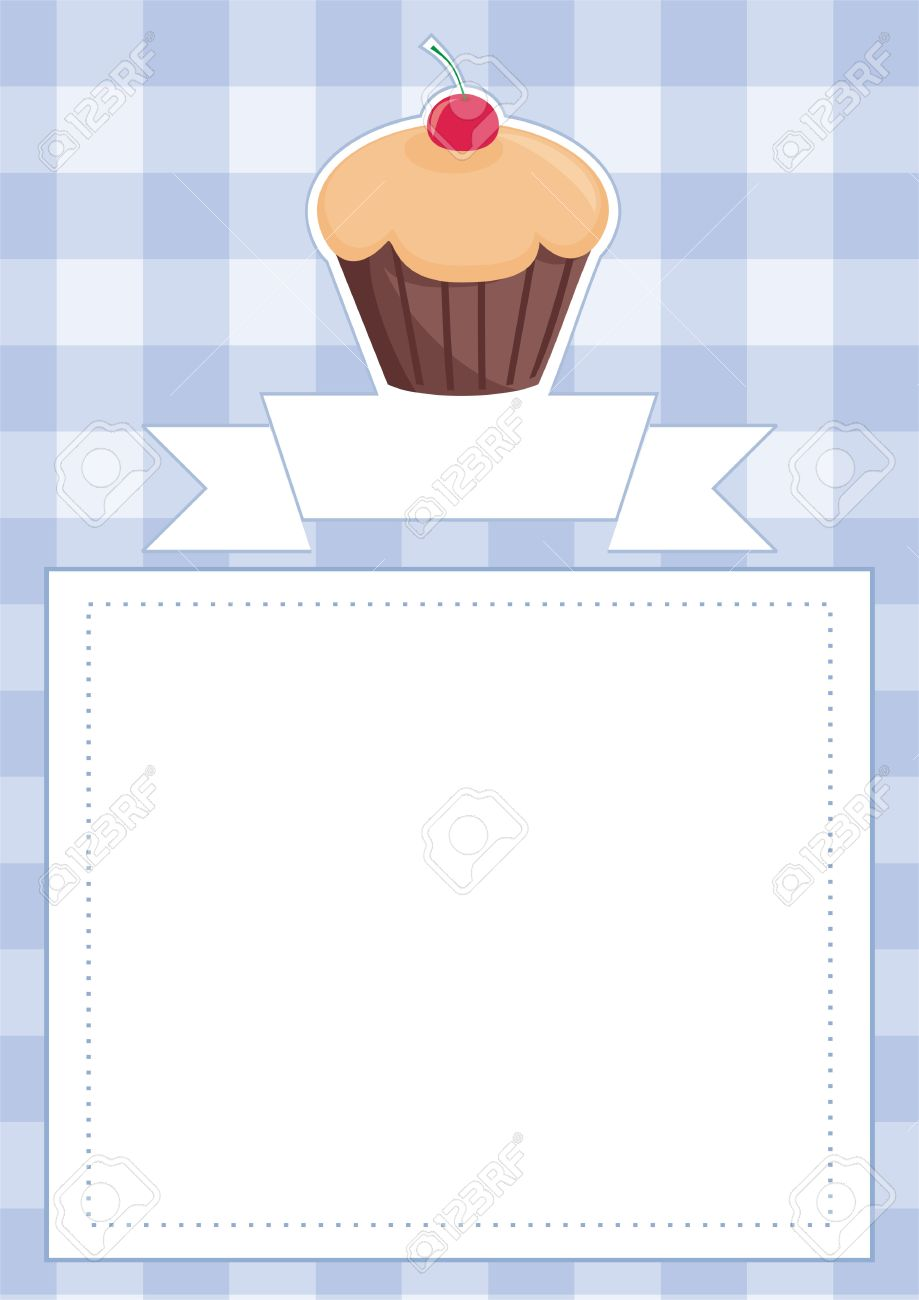 vector vector blue restaurant menu card baby shower list wedding invitation with sweet chocolate cupcake on boy blue vintage checkered pattern grid