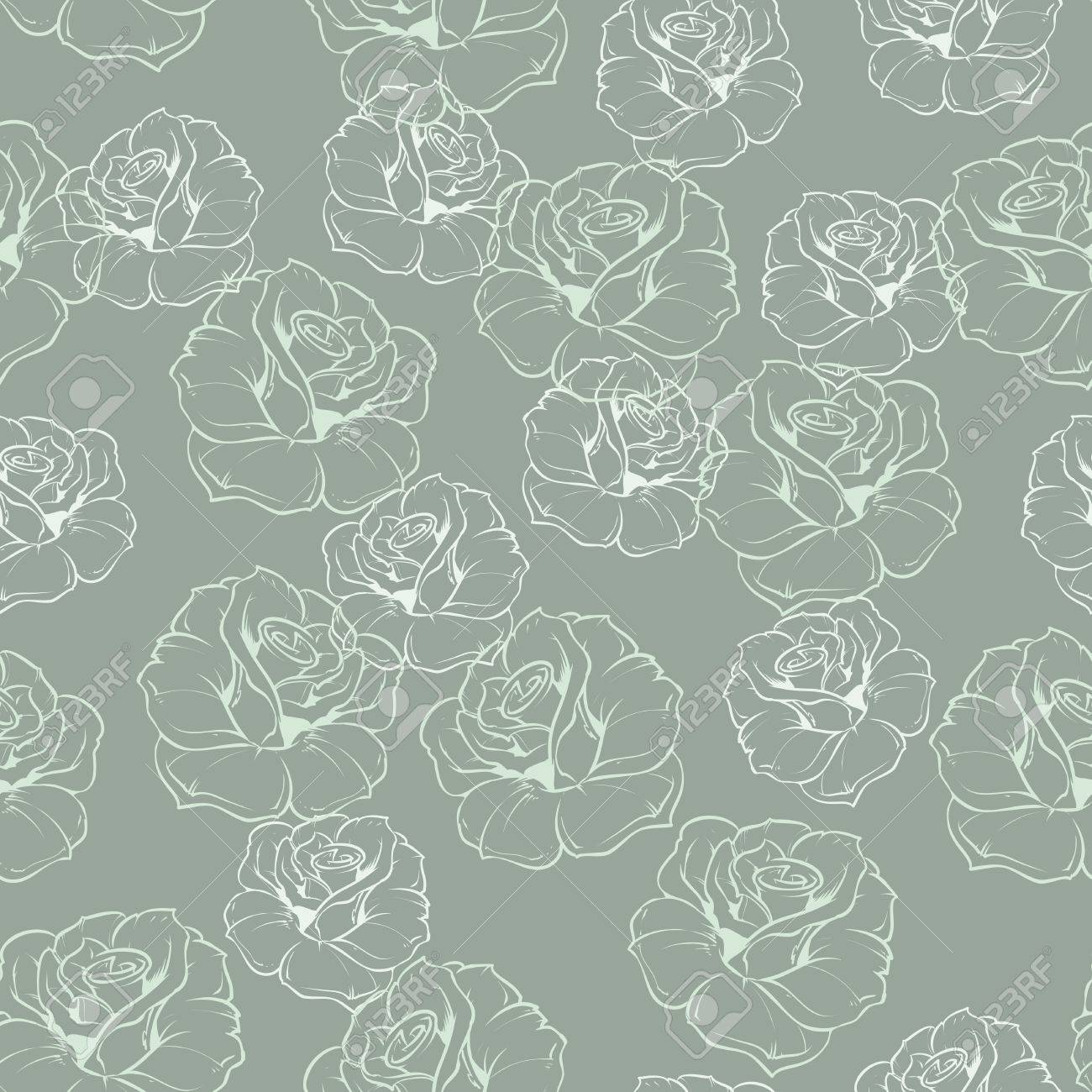 Seamless Vector Mint Green Retro Floral Pattern With White Roses