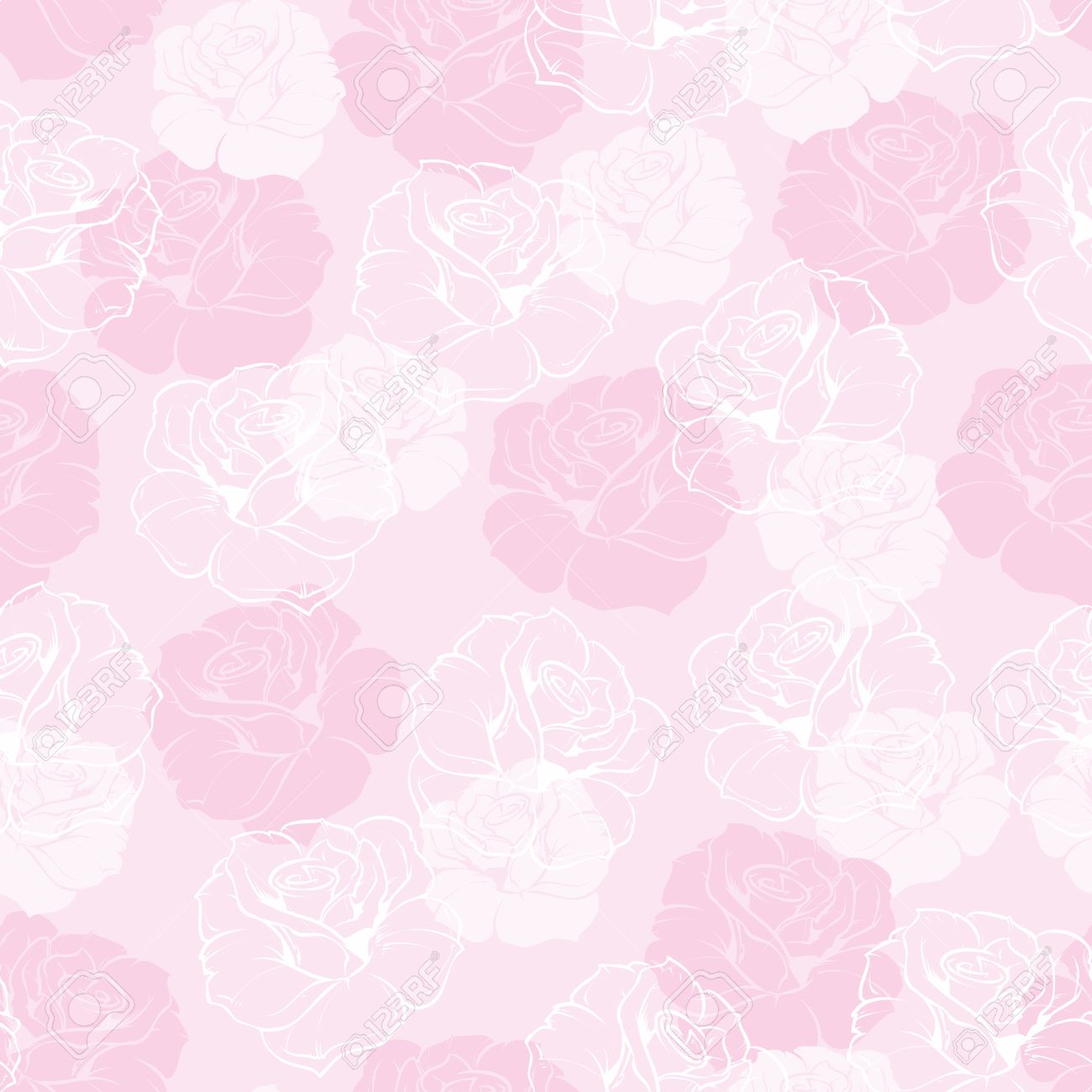 Seamless Floral Vector Pattern With Elegant Pink And White Roses Light Baby Background