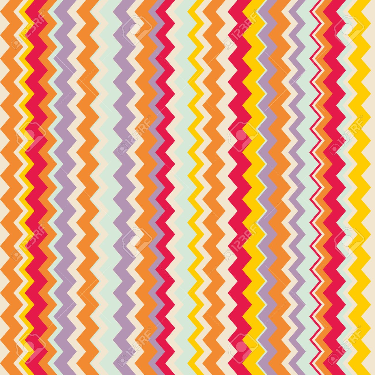 Chevron Seamless Colorful Vector Pattern Or Tile Background With Zig Zag Red Purple Yellow