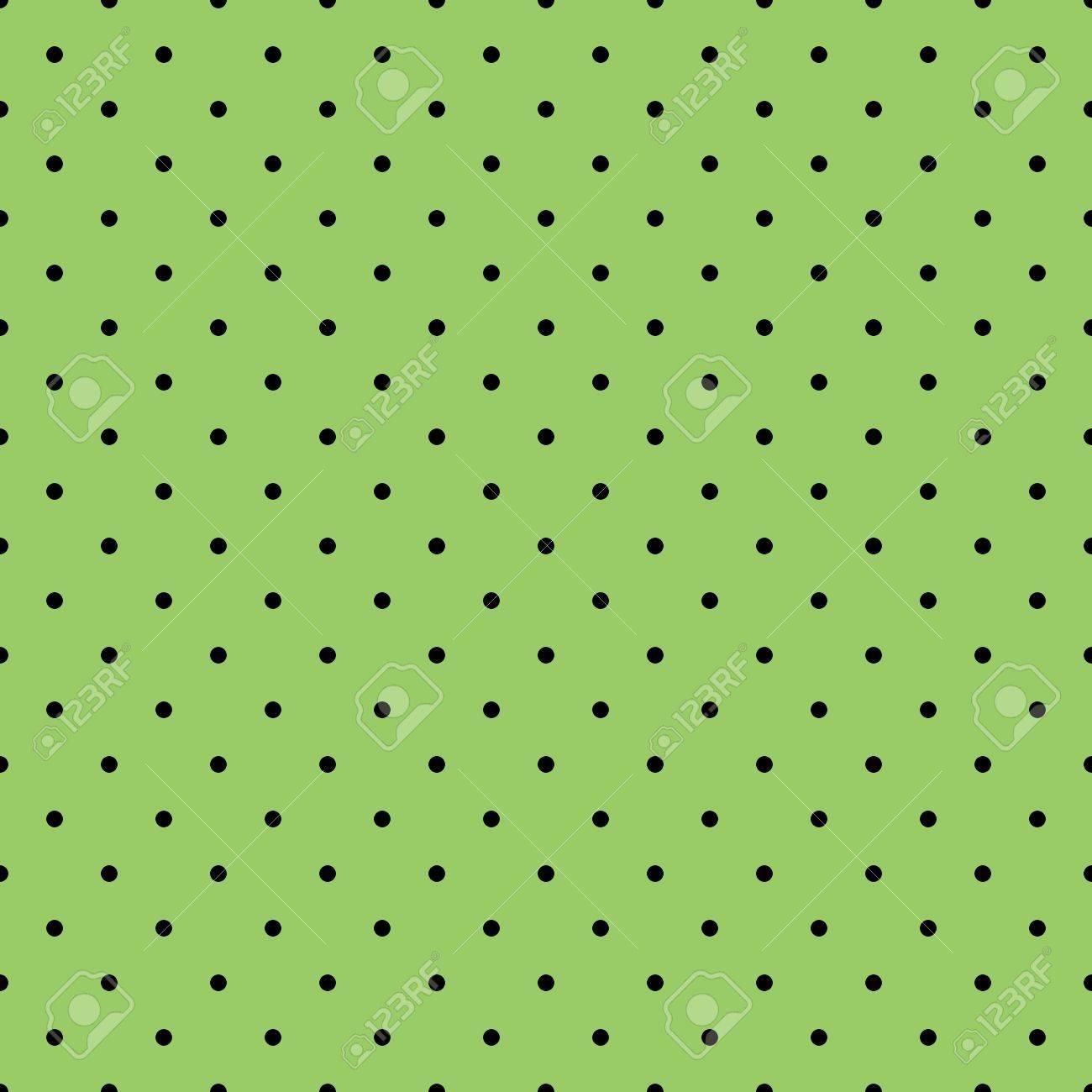 シームレスなベクター パターンまたはテクスチャ子供の背景 デスクトップの壁紙 ウェブサイトのデザインの暗い 春の緑の背景に黒の水玉のイラスト素材 ベクタ Image