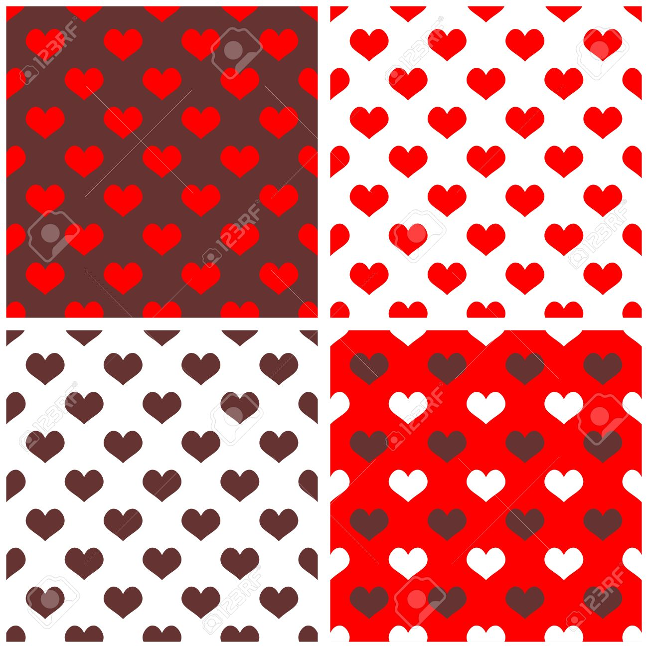 Seamless Vector Background Set With Hearts Full Of Love Pattern For Valentines Desktop Wallpaper Or