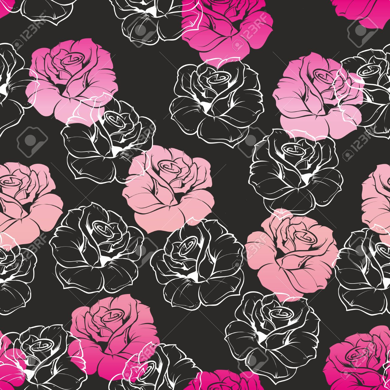 Seamless dark floral vector pattern with pink and white retro seamless dark floral vector pattern with pink and white retro roses on black background beautiful mightylinksfo