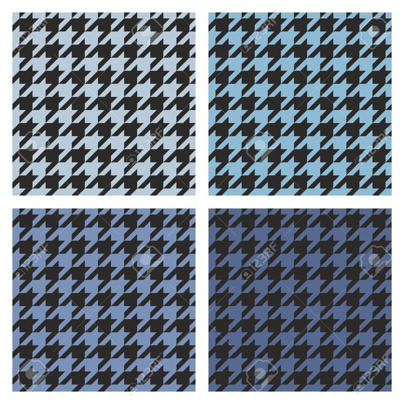 千鳥格子ベクトルのシームレスなネイビー ブルーと黒のパターンを設定します デスクトップの壁紙やウェブサイトのデザインの不織布レトロの闇と光のタータン チェックのツイード ファッション背景のイラスト素材 ベクタ Image