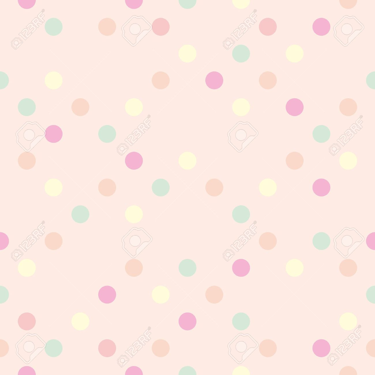 Colorful vector pastel polka dots on baby pink background retro colorful vector pastel polka dots on baby pink background retro seamless pattern for backgrounds voltagebd Images
