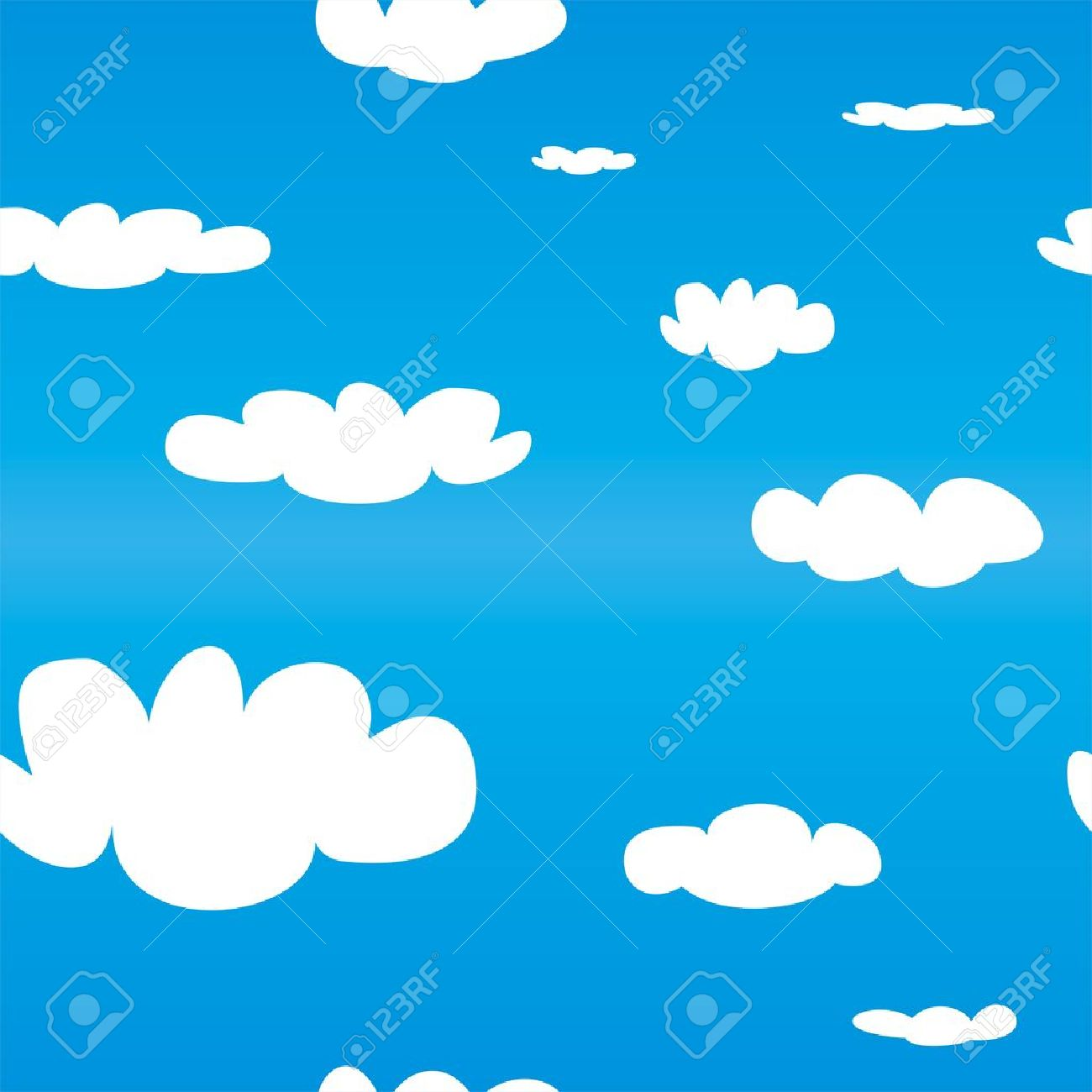 Seamless Vector Pattern With White Clouds On Blue Sky Background Cloud Computing Concept Cartoon Flat