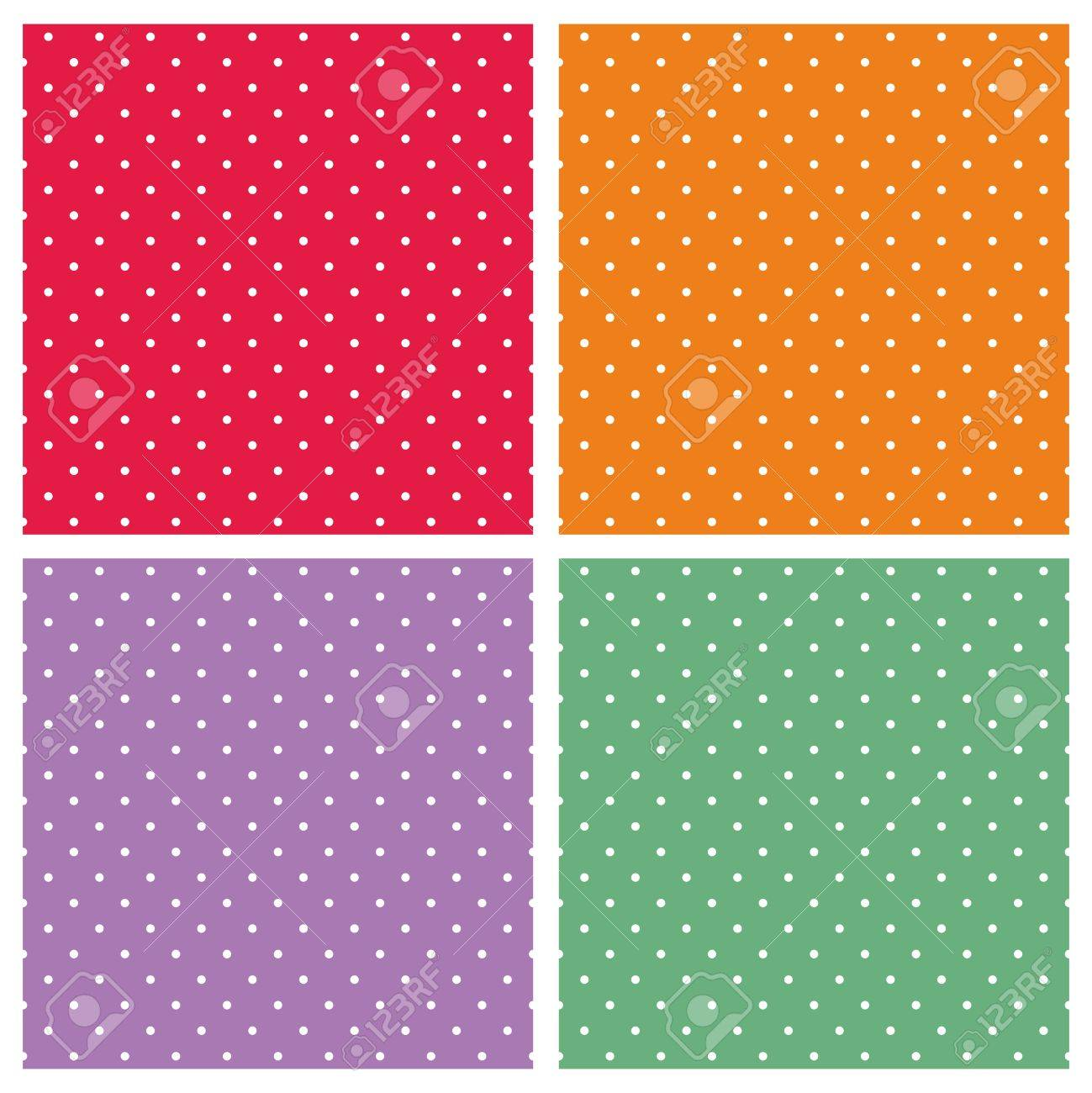 sweet tile by design. Vector  set with sweet tile patterns white polka dots on pastel colorful summer background red orange violet and green for desktop Set With Sweet Tile Patterns White Polka Dots On