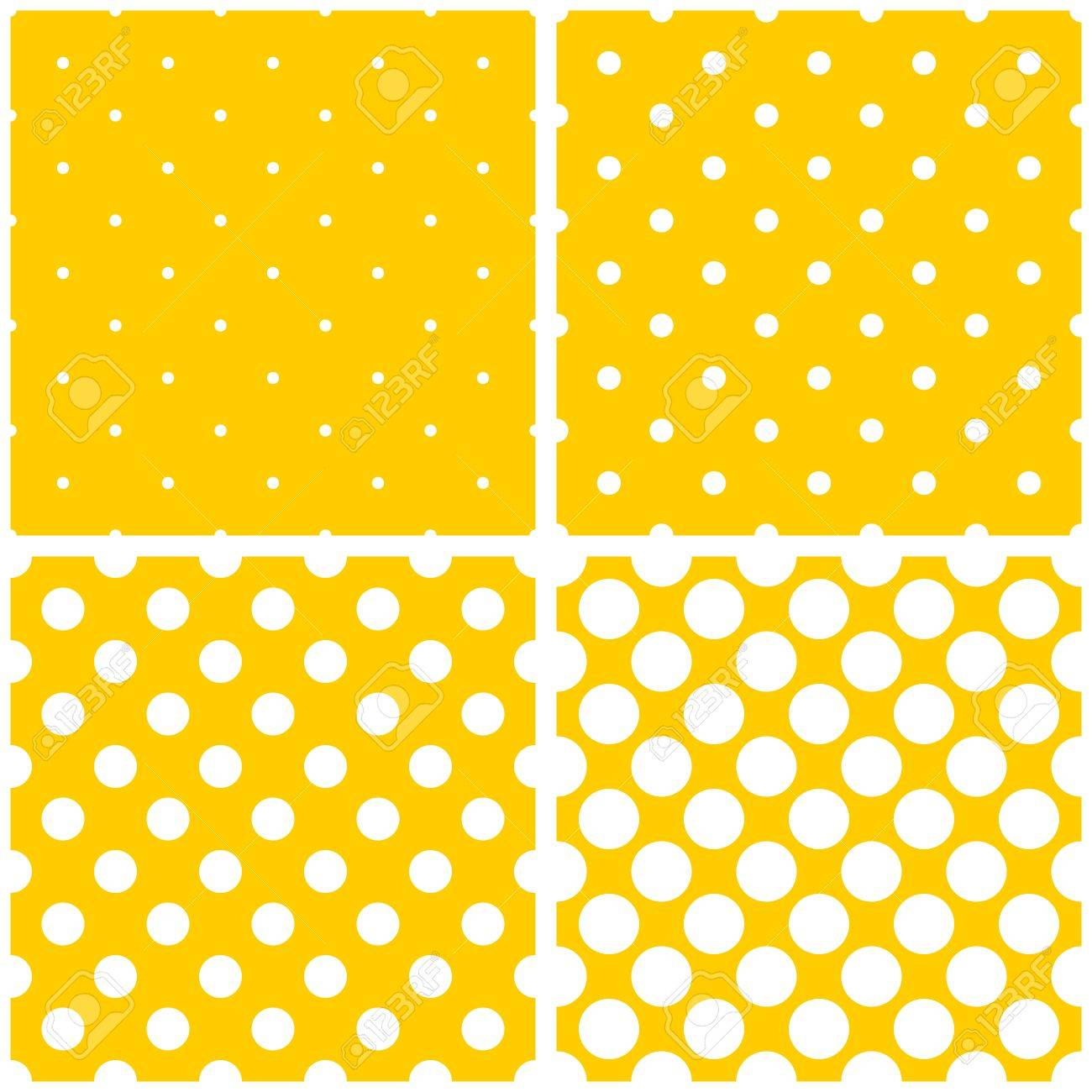 Tile Vector White Polka Dots On Yellow Background Pattern Set ...