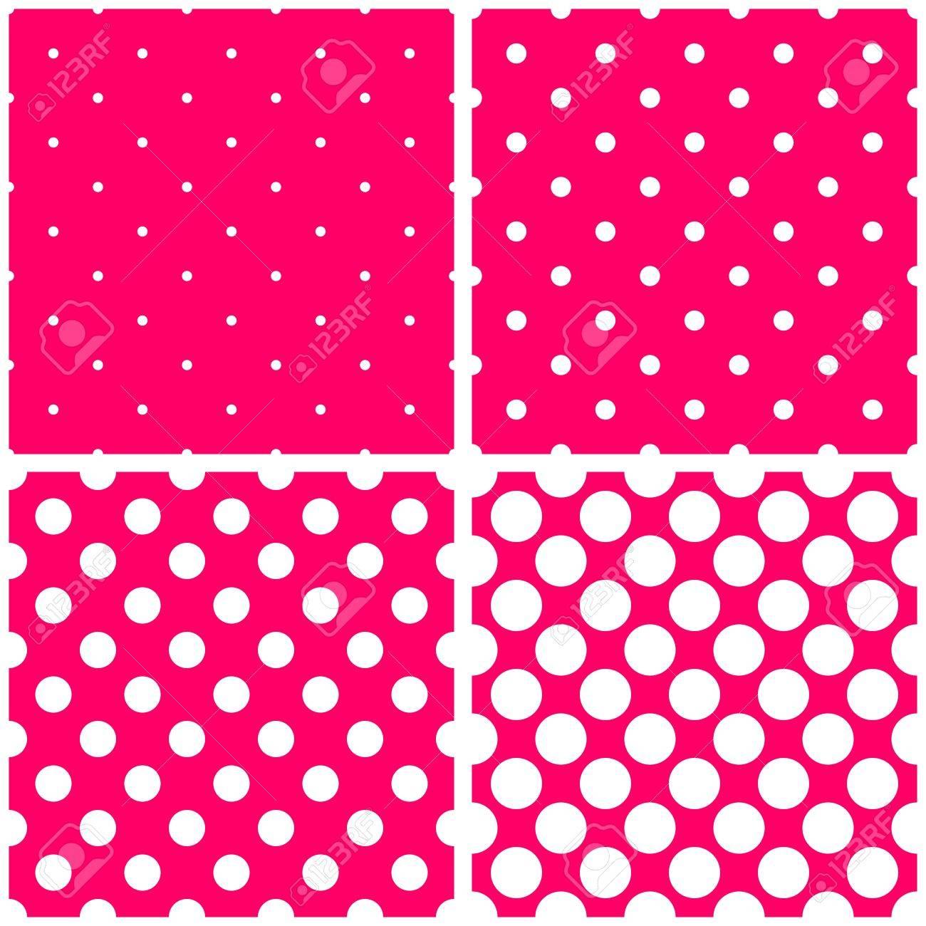 ピンクのベクトルの背景に白の水玉を設定します 甘いレトロの生地タイル パターンのコレクションは子供のウェブサイトのデザインの背景やデスクトップ壁紙のためのスポットでのイラスト素材 ベクタ Image