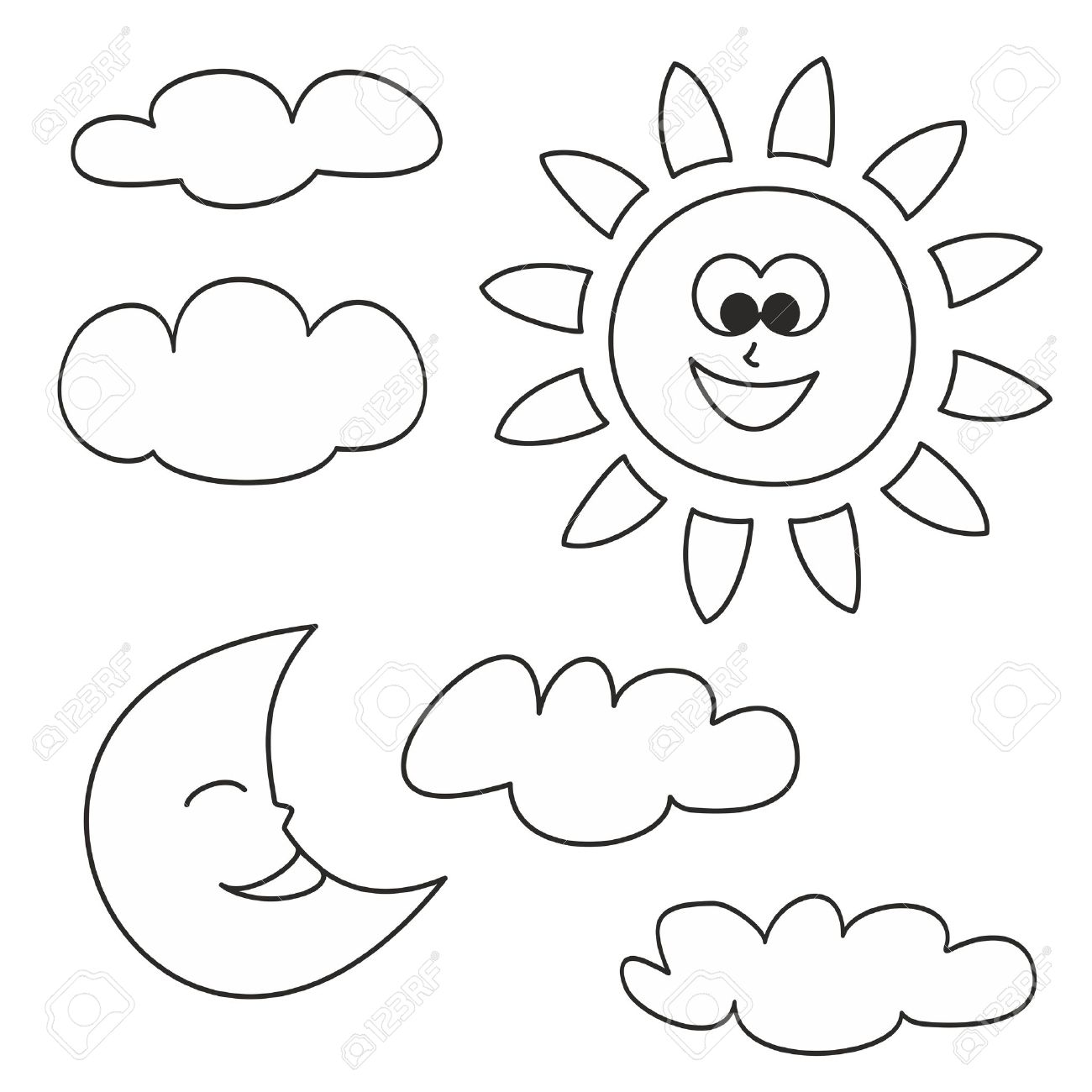 Sun, Moon And Clouds - Weather Cartoon Icons Vector Illustrations ...