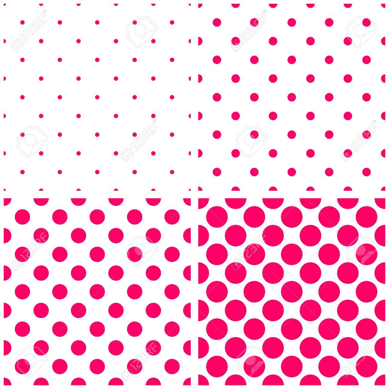 Azulejos De Lunares De Color Rosa Sobre Fondo Blanco Vector Conjunto ...