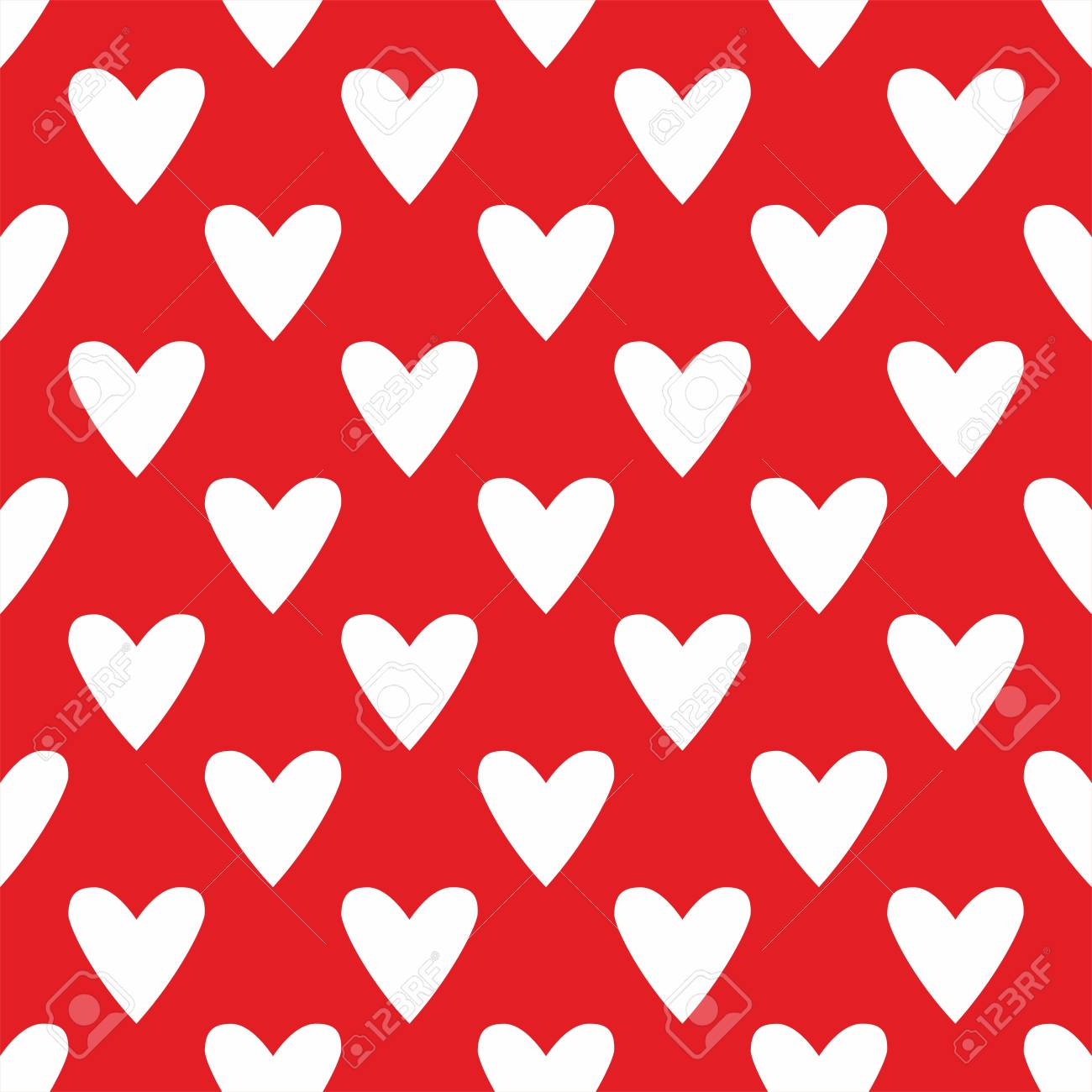 Tile Valentine Vector Pattern With White Hearts On Red Background