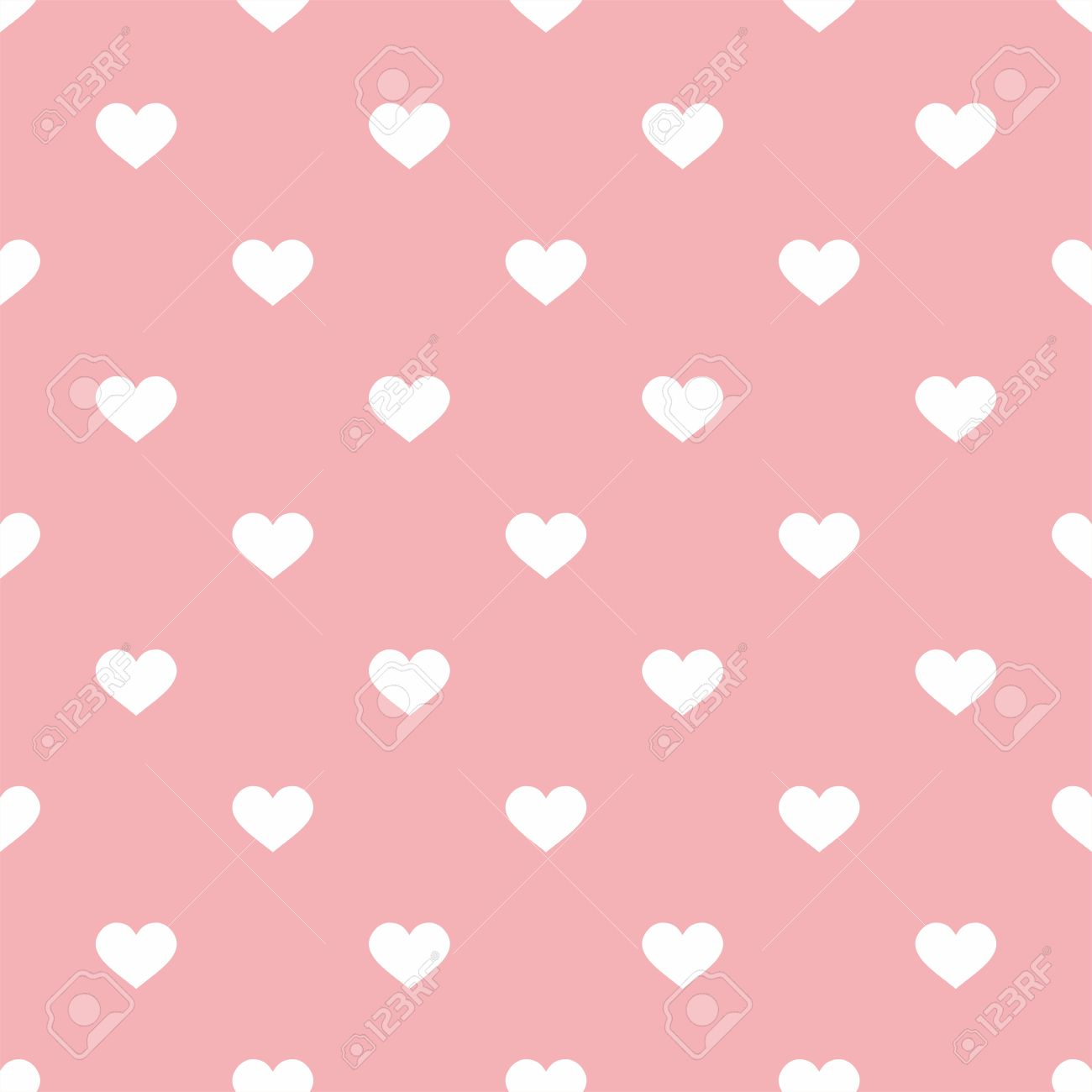 Tile Valentine Vector Pattern With Small White Hearts On Pink
