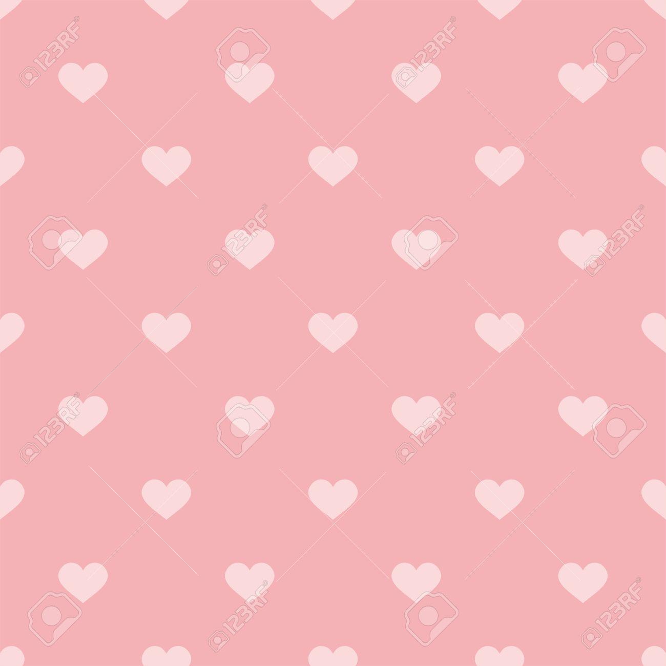 タイルのシームレスな装飾壁紙のパステル背景にピンクの心とかわいい