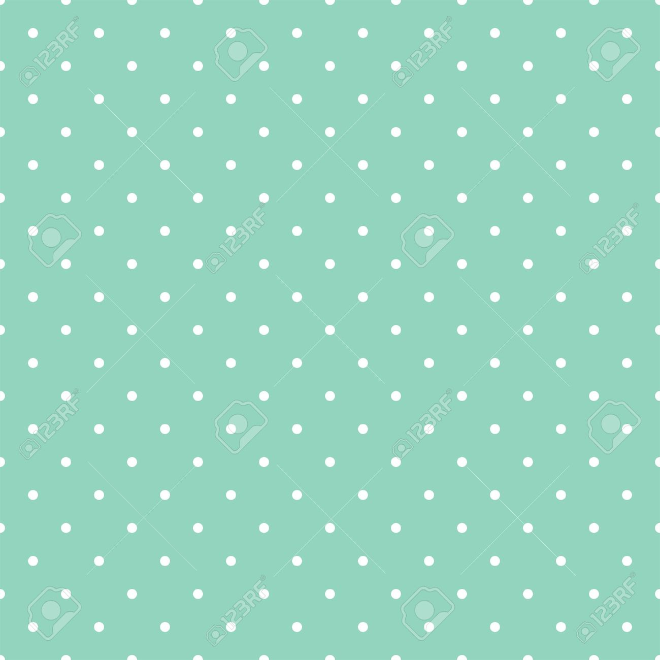 Vettoriale Seamless Pattern Con Pois Bianchi Su Sfondo Verde Menta