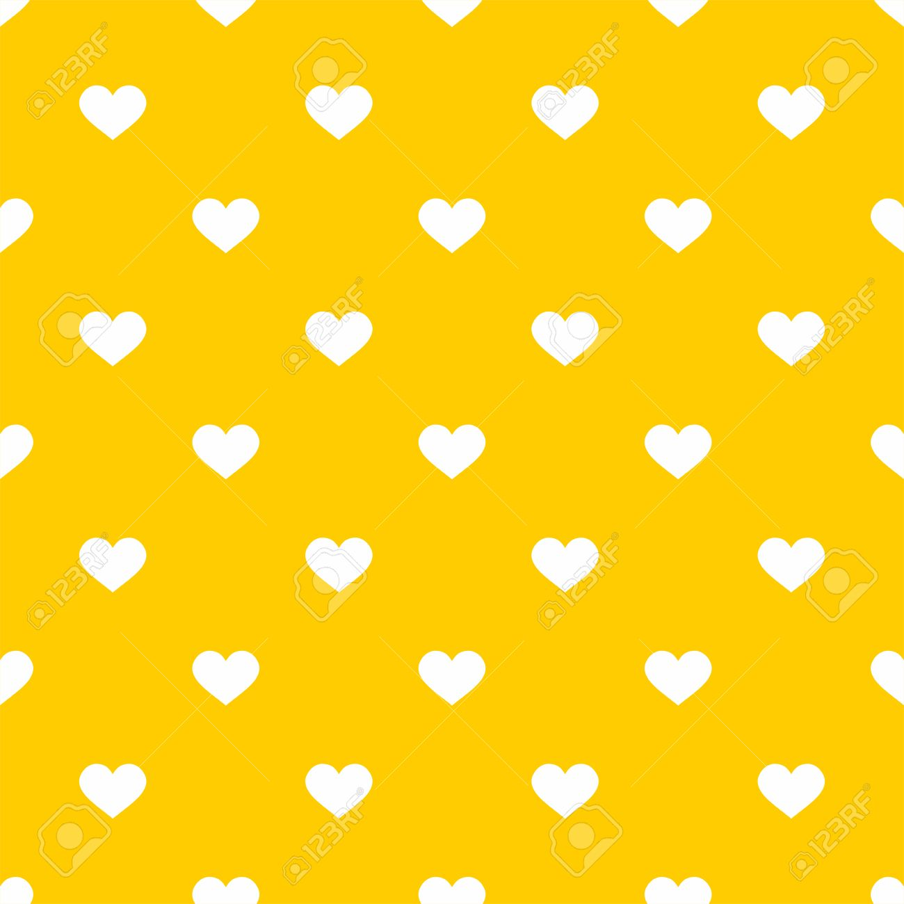 Tile Cute Vector Pattern With White Hearts On Yellow Background ...