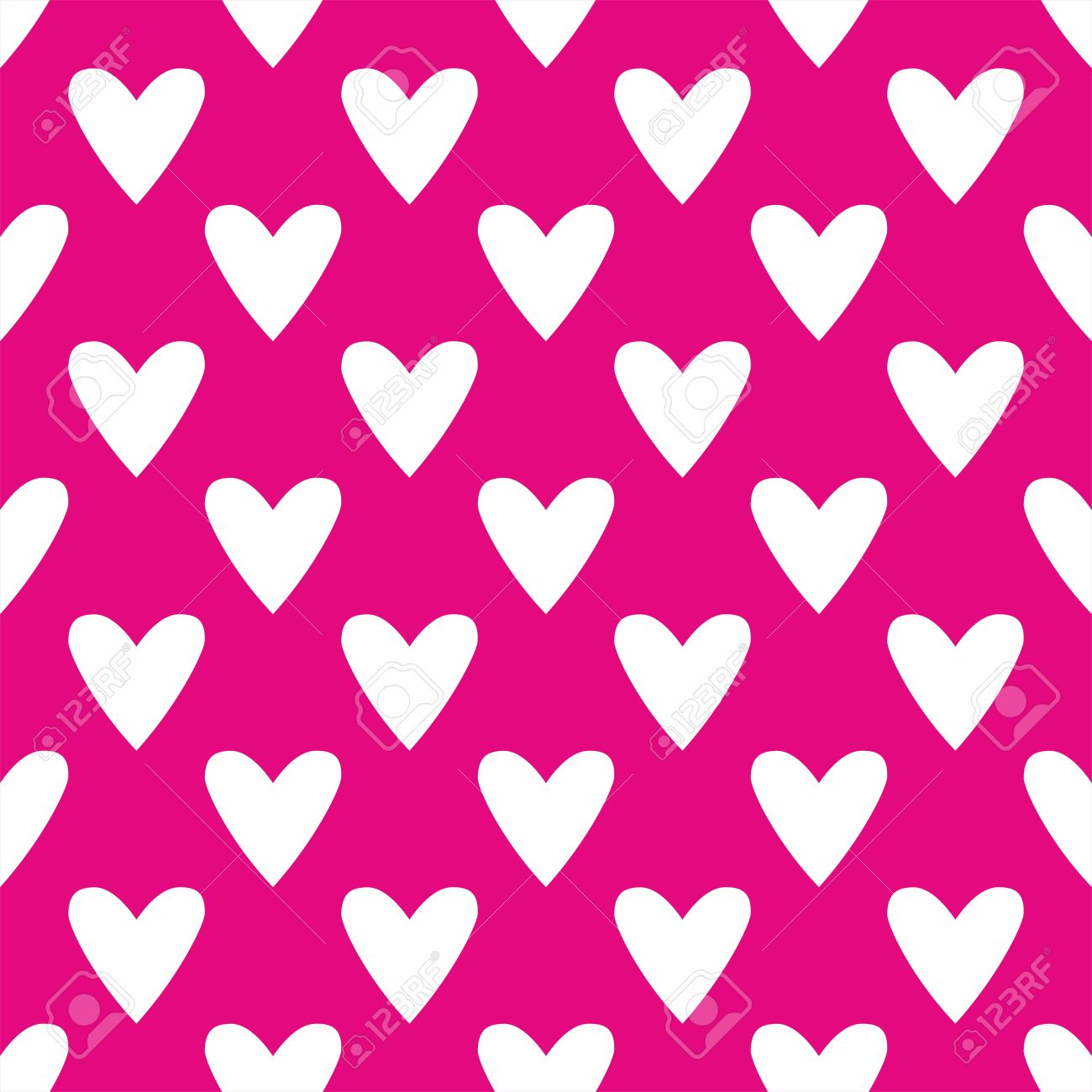 Tile Cute Vector Pattern With White Hearts On Pastel Pink Background For Seamless Decoration Wallpaper Stock