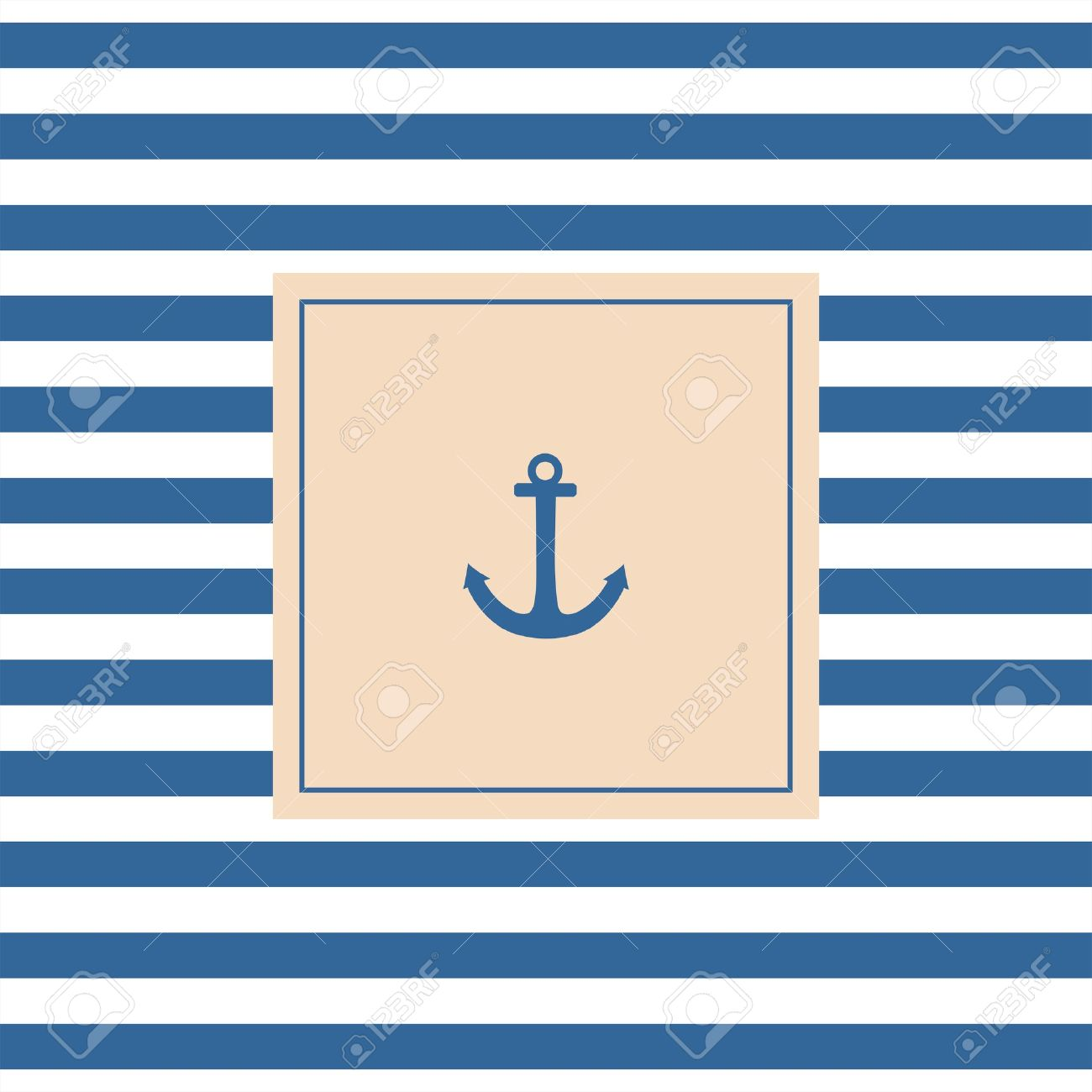 nautical vector card or invitation with anchor pastel background