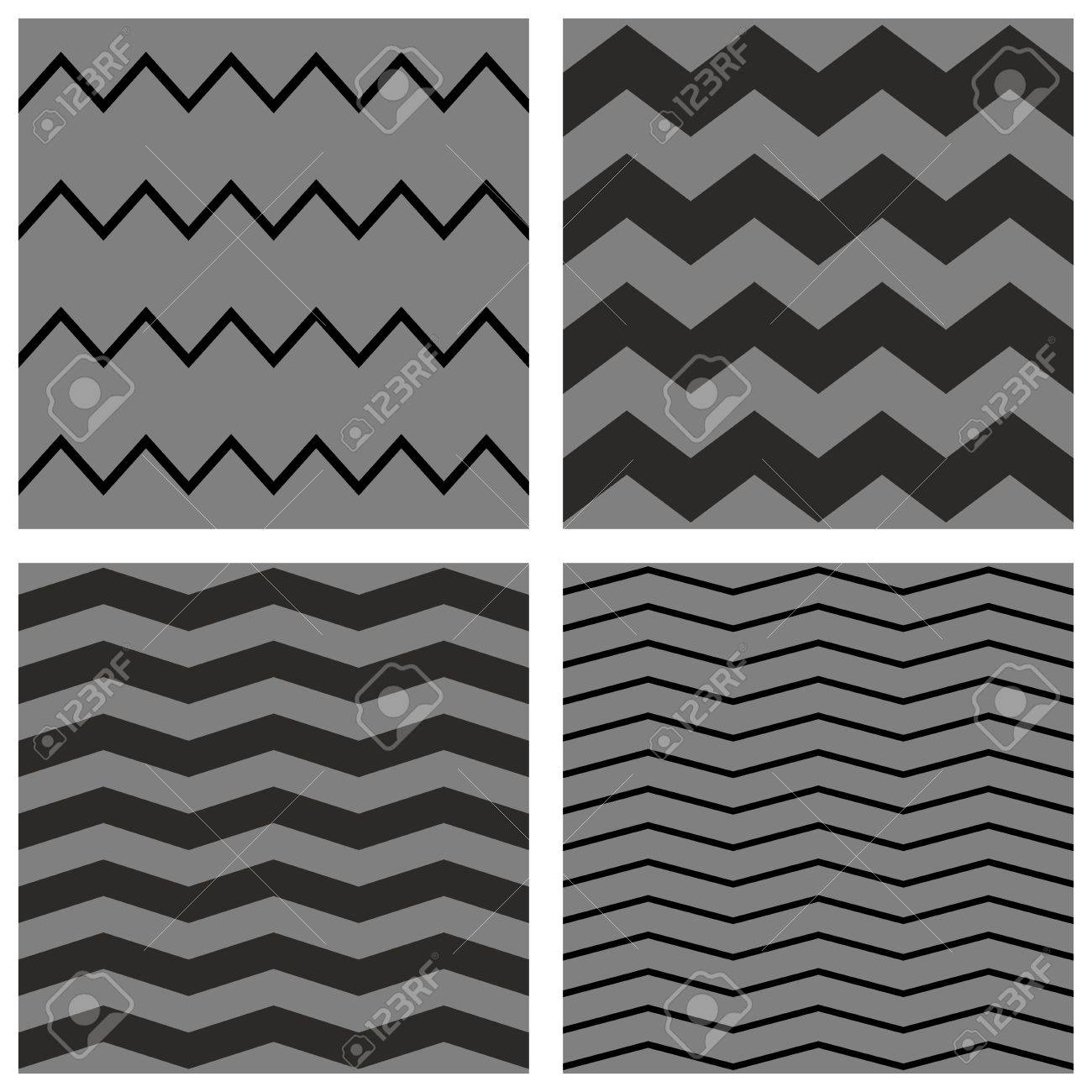 Chevron tile vector pattern set with black and gray zig zag background stock vector 39770049