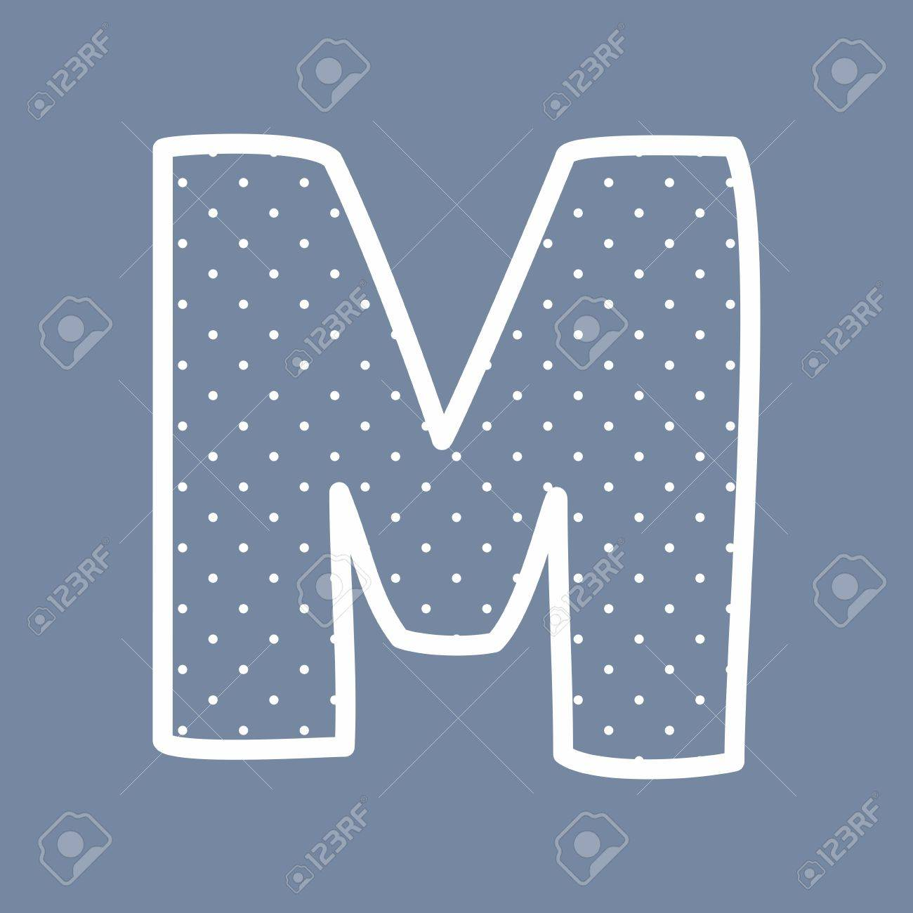 M Hand Drawn Letter With Small White Polka Dots On Blue Background